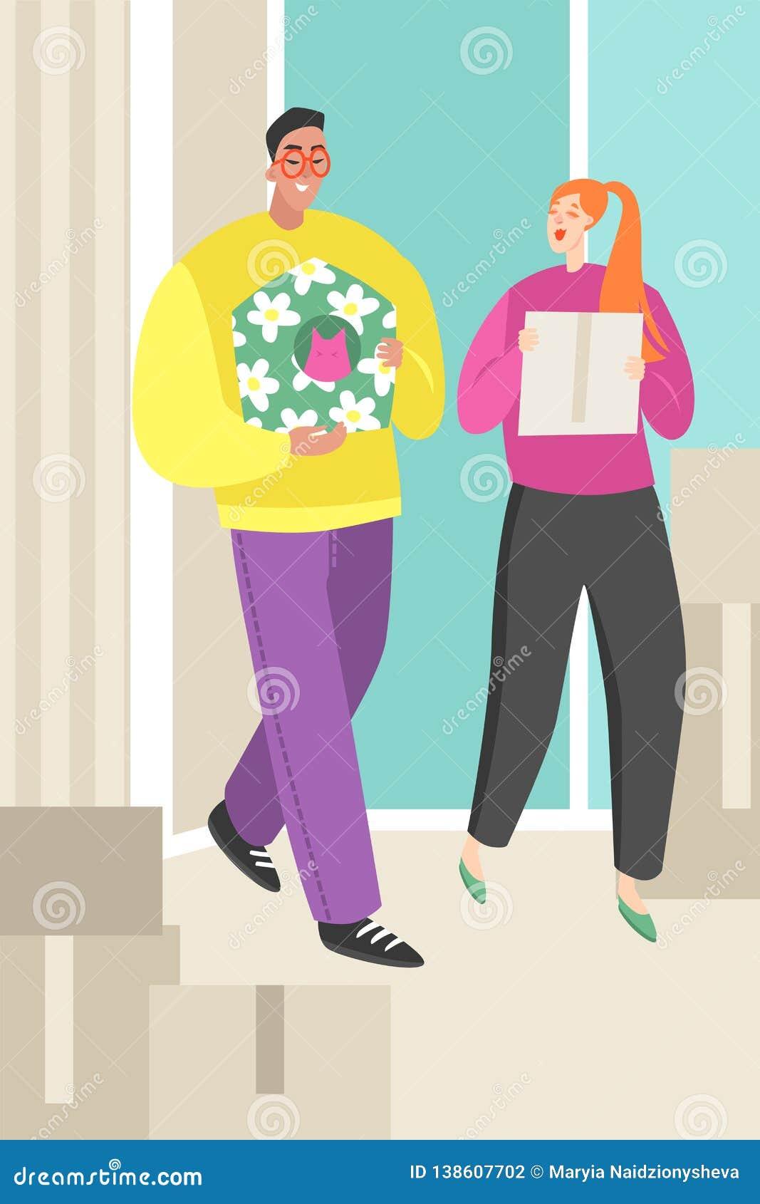 带来箱子的一对年轻夫妇的传染媒介例证给一个新的家