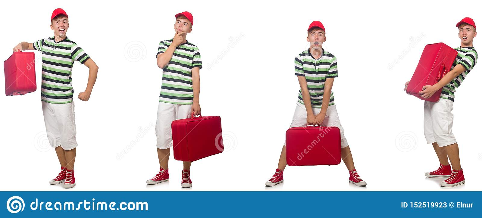 带着在白色隔绝的红色手提箱的年轻人