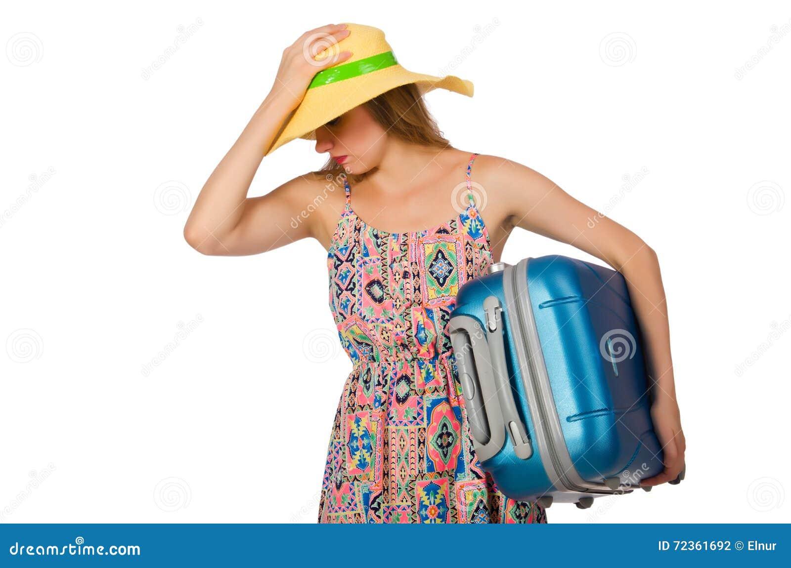 带着在白色隔绝的手提箱的妇女