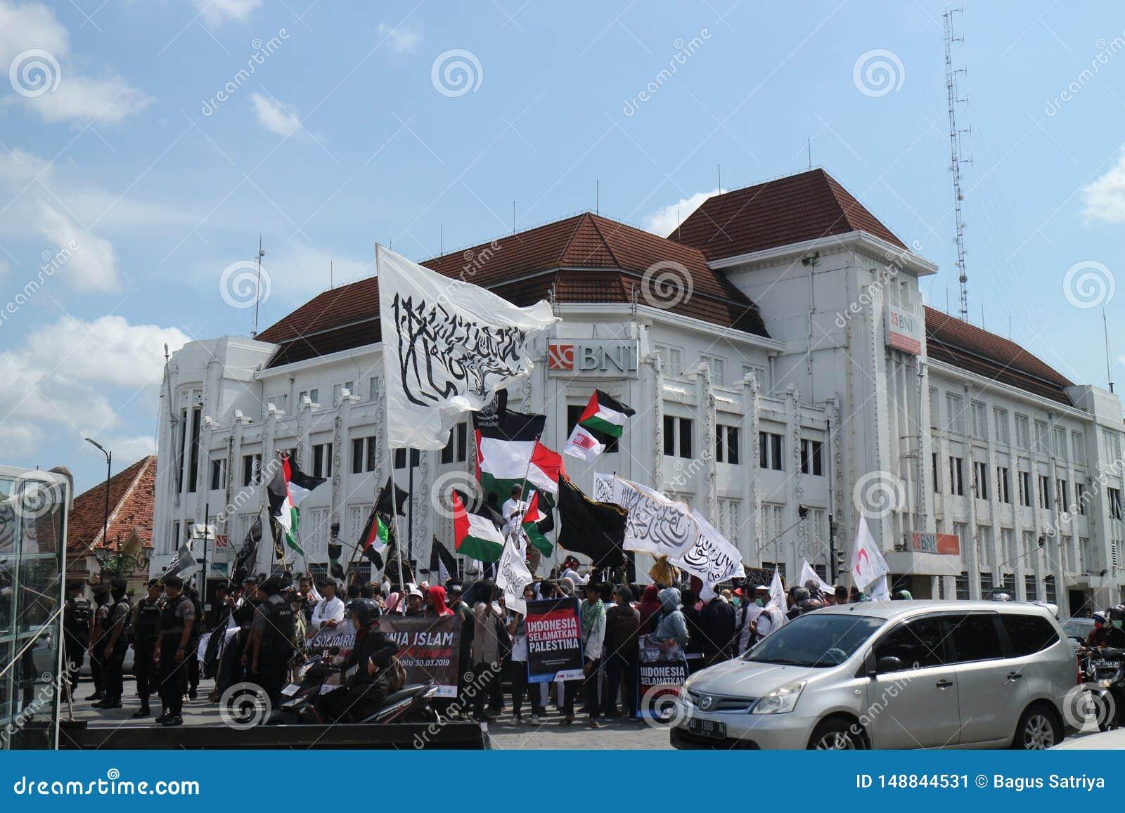 平安的组织在日惹,印度尼西亚保卫巴勒斯坦