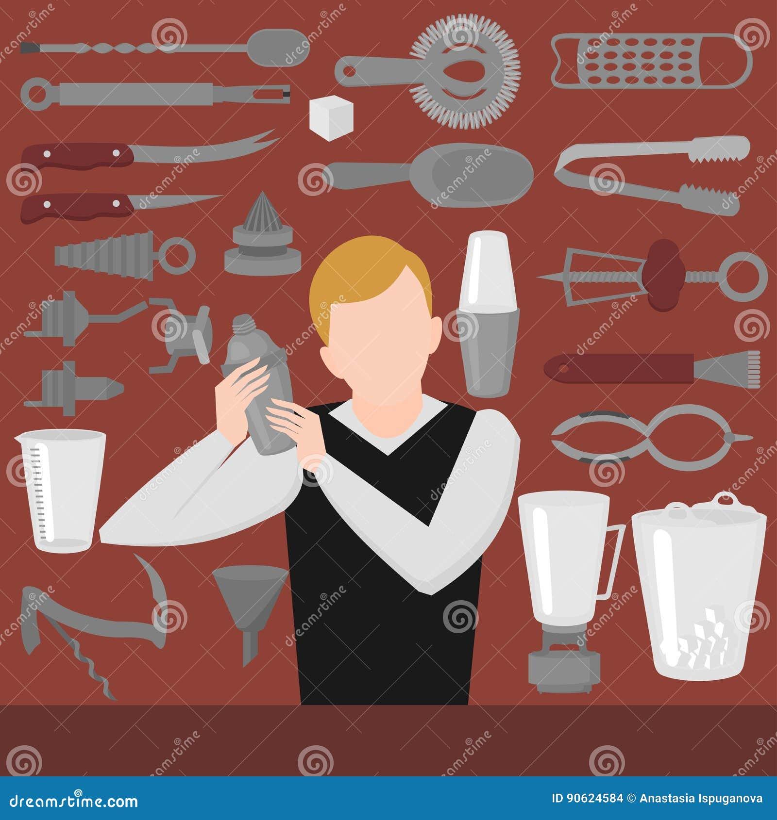 平男服务员混合,开头和装饰工具 侍酒者设备振动器,开启者,混合的玻璃