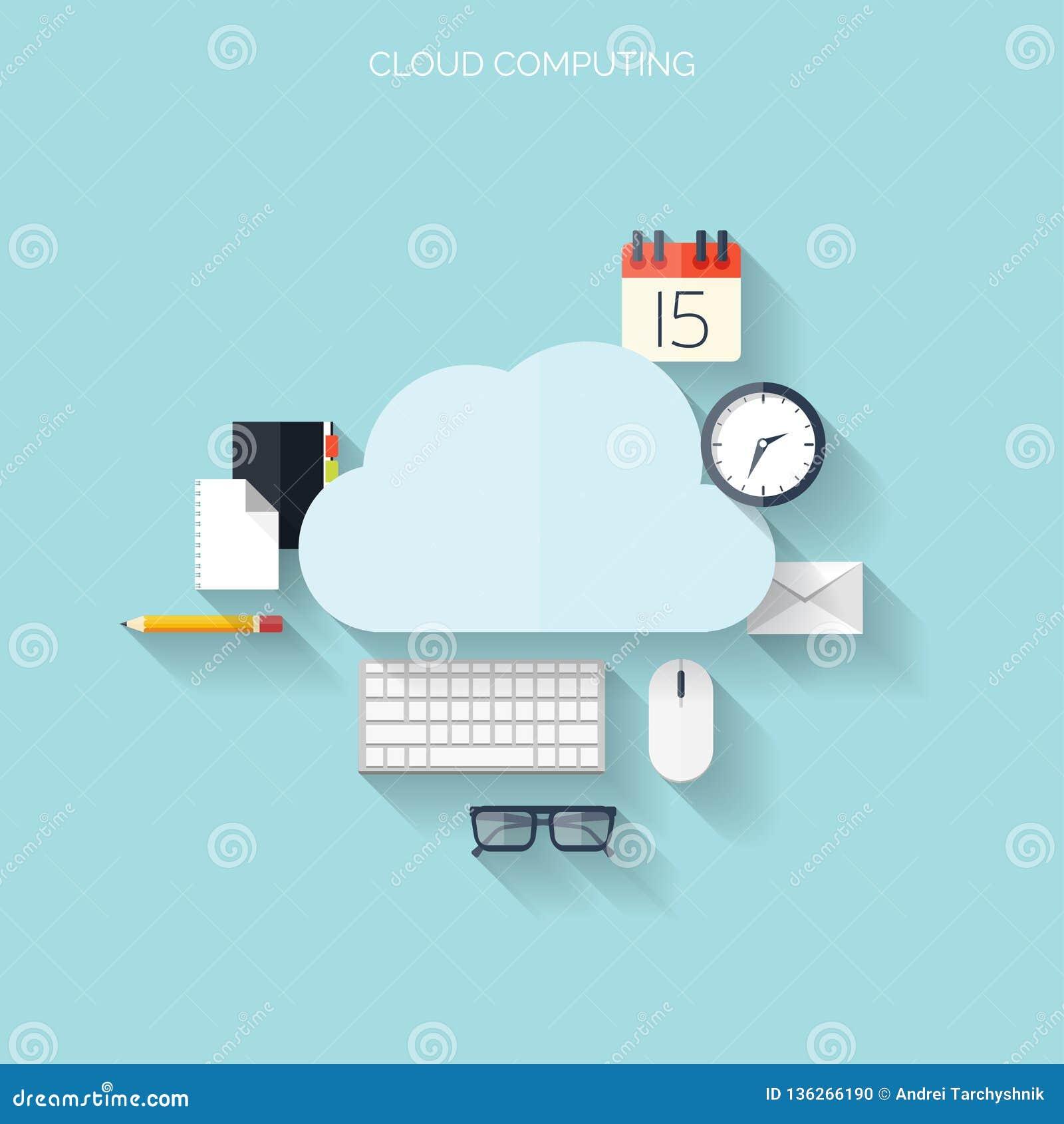 平的云彩计算的背景 数据存储网络技术 多媒体内容和网站主持