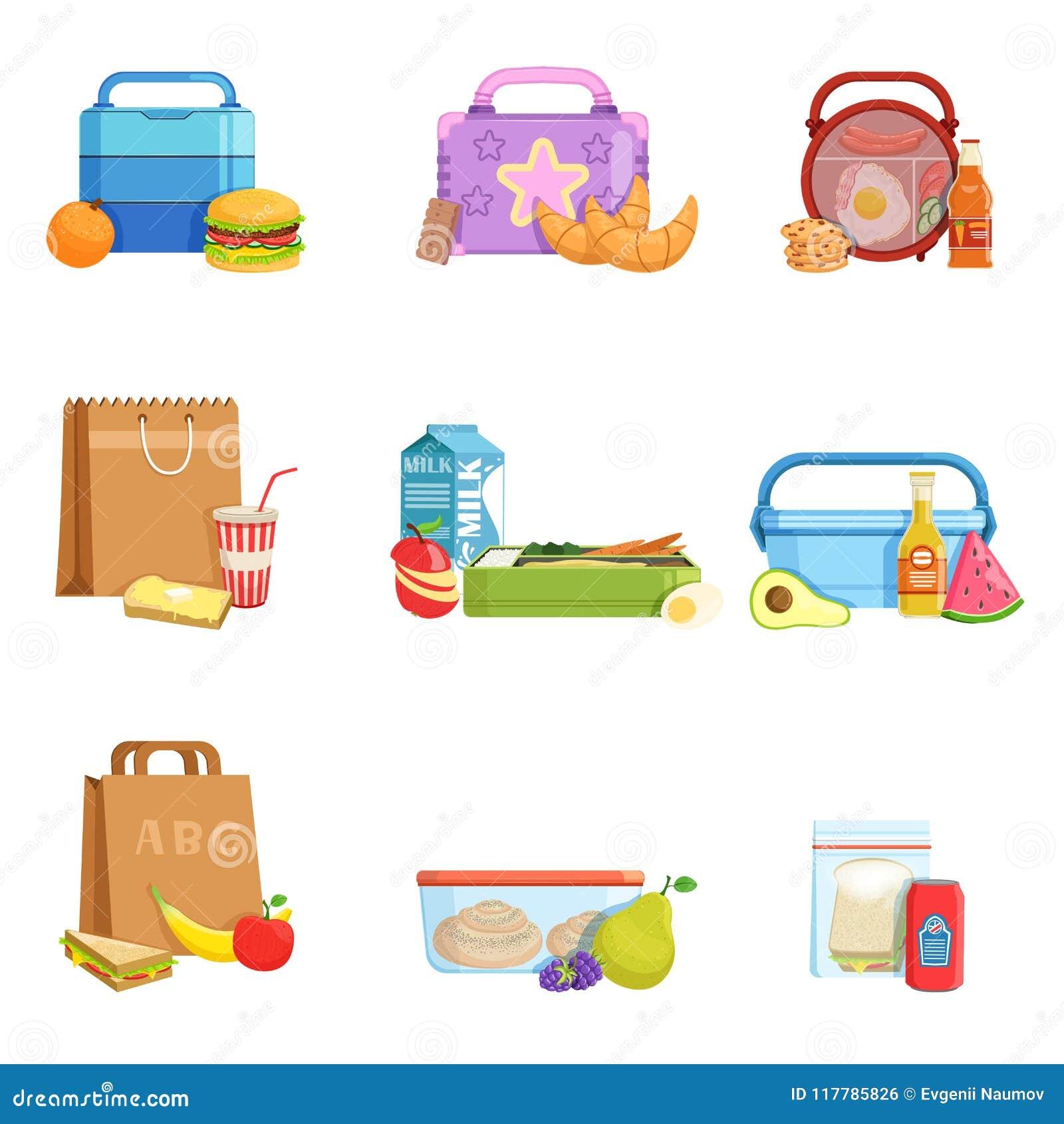平的传染媒介套学校午餐箱子和袋子用食物和饮料 孩子的鲜美膳食
