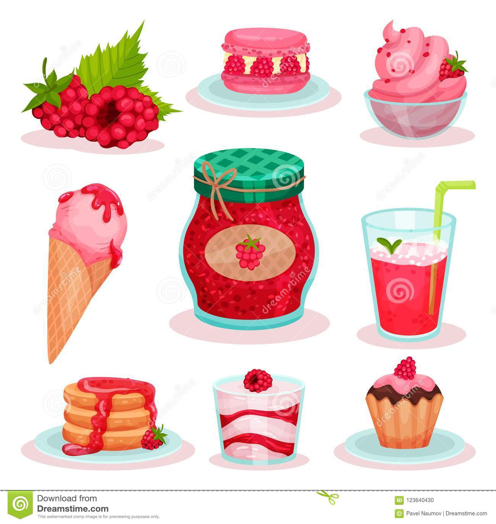 平的传染媒介套莓食物和饮料 冰淇凌、瓶子果酱,新鲜的鸡尾酒和鲜美点心 菜单的元素