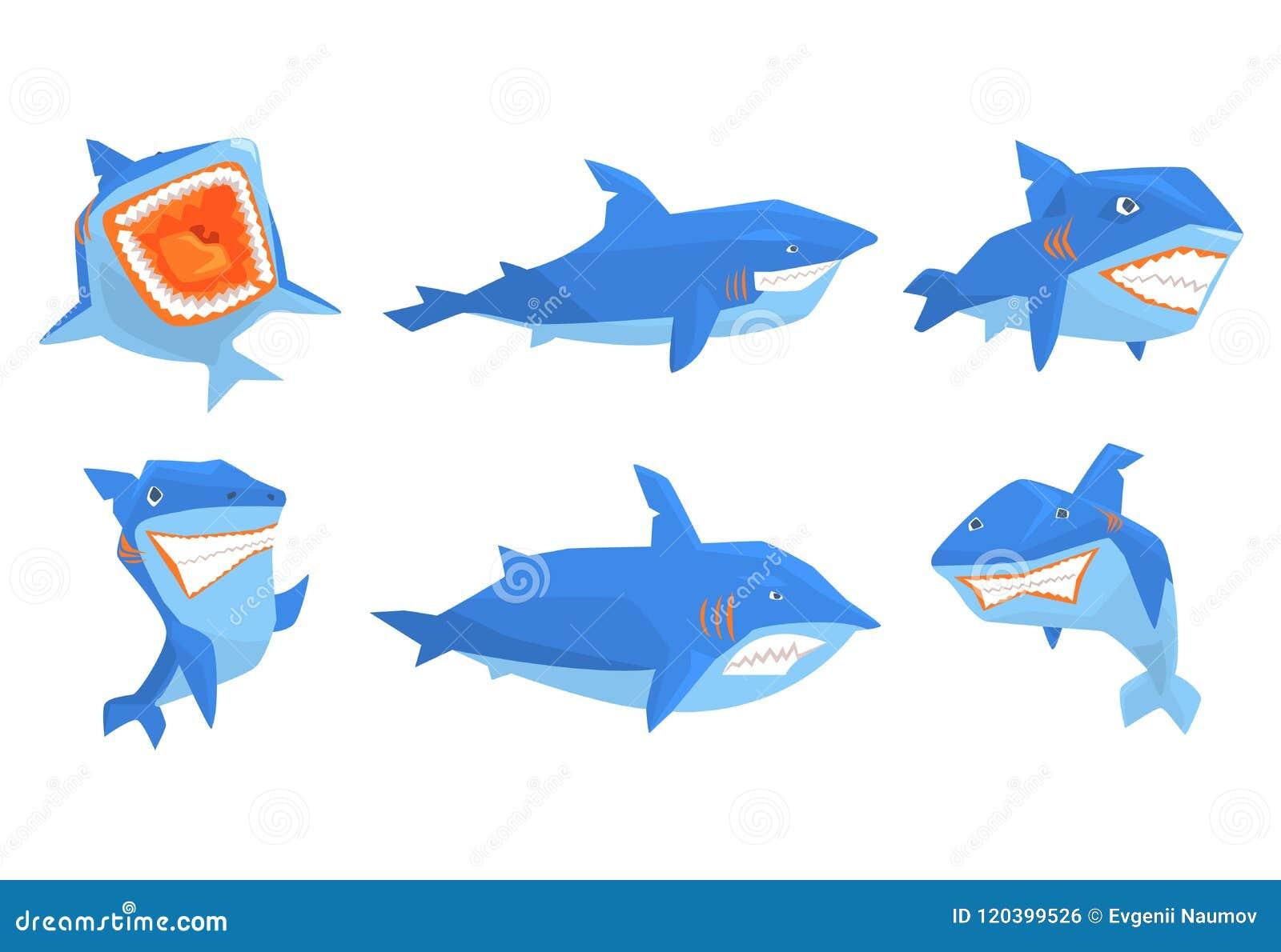 平的传染媒介套蓝鲨鱼用不同的姿势 与锋利的牙齿和大飞翅后面的海生动物 元素为