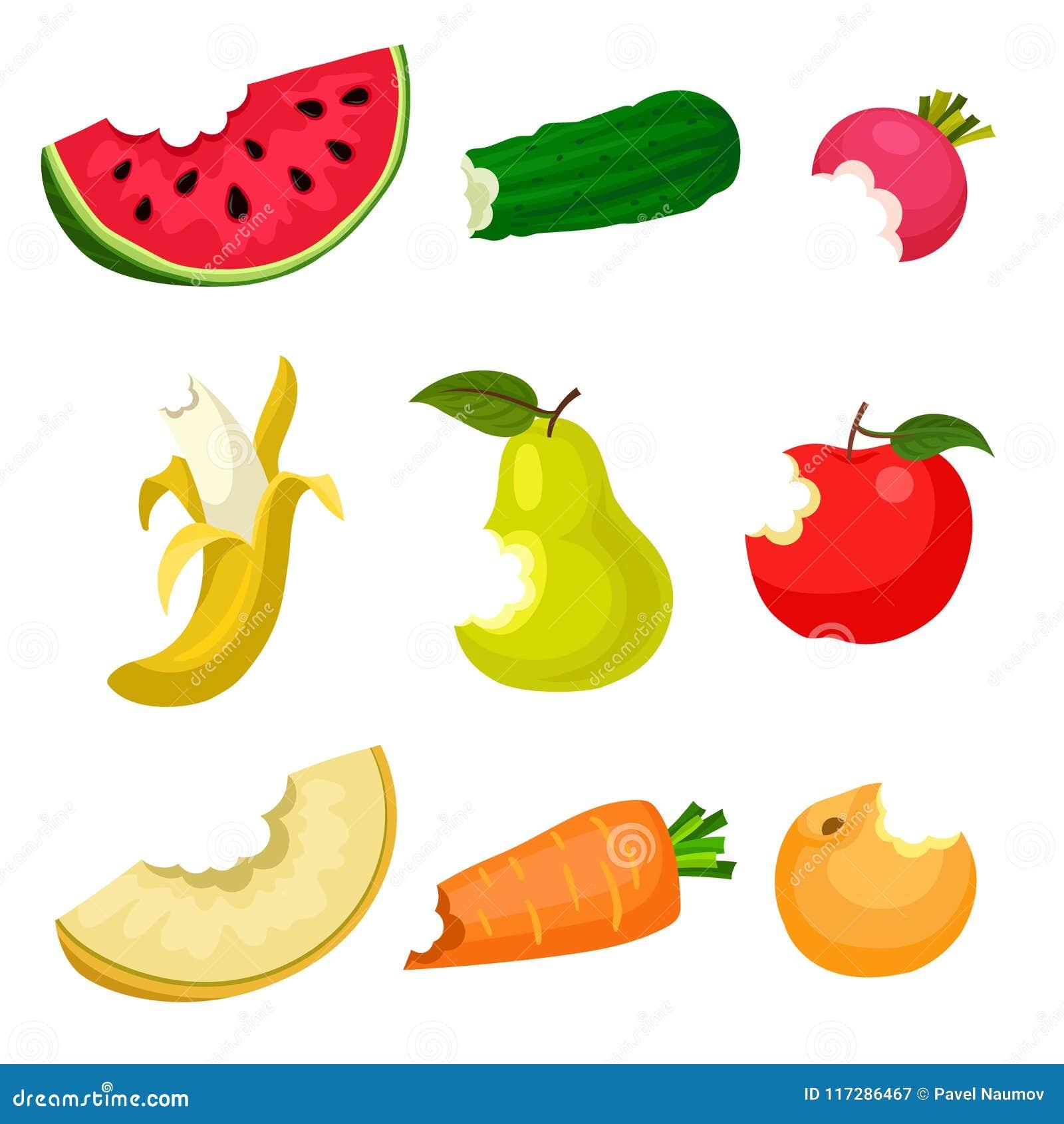 平的传染媒介套被咬住的水果和蔬菜 自然和鲜美食物 健康营养 海报的,横幅设计或
