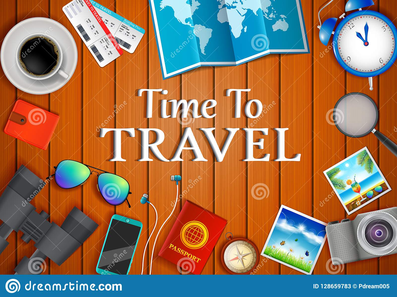 平的传染媒介网横幅在旅行,假期,冒险题材设置了  为您的旅途做准备 现代旅客成套装备  O