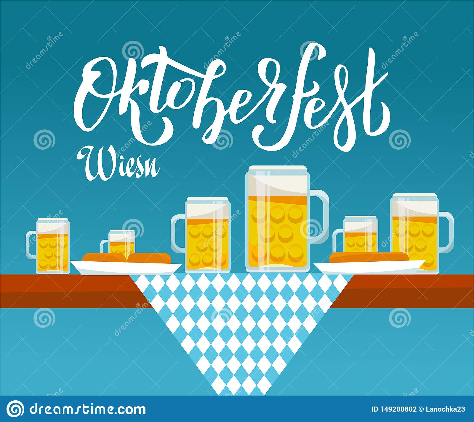 平的在慕尼黑啤酒节桌上的传染媒介例证侧视图与方格的布料、啤酒杯和板材有快餐的:香肠,椒盐脆饼