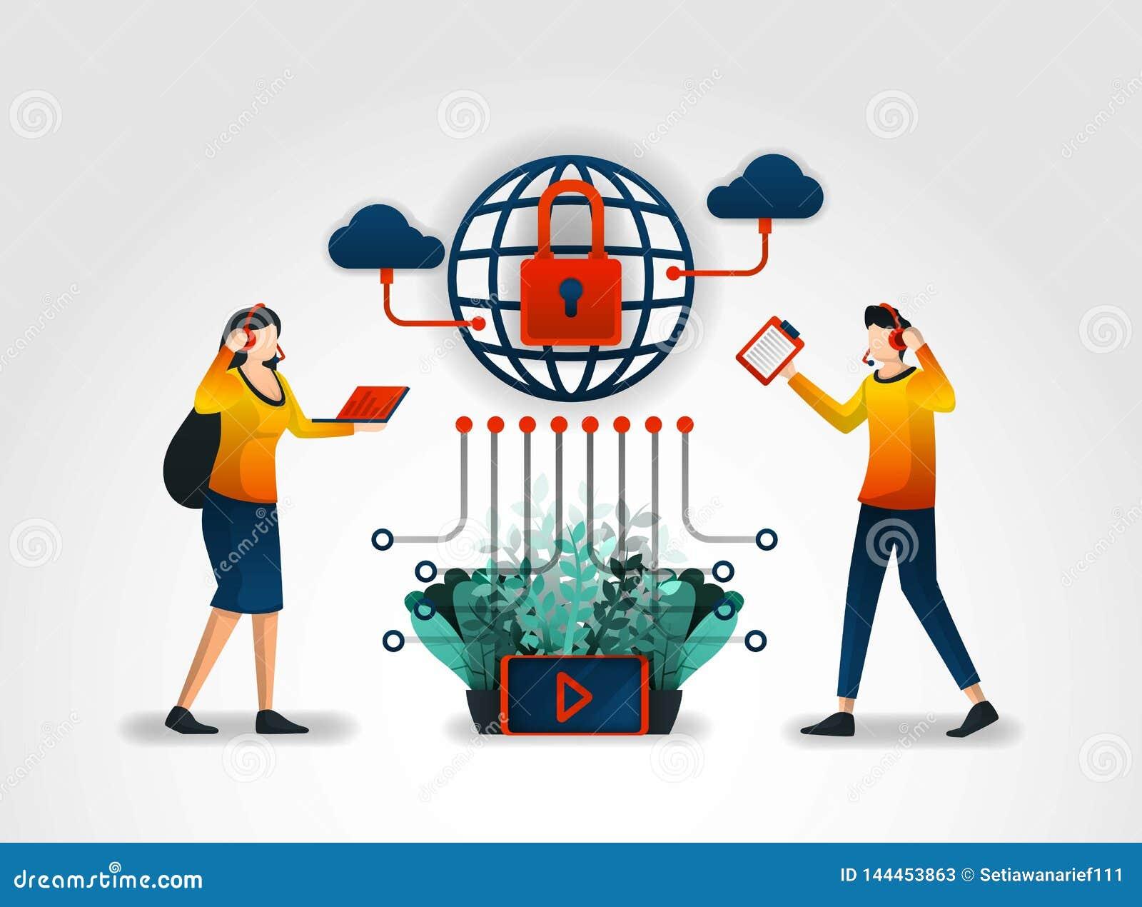 平的字符 互联网服务供应商提供用户以客服和保障系统 协助由证券业
