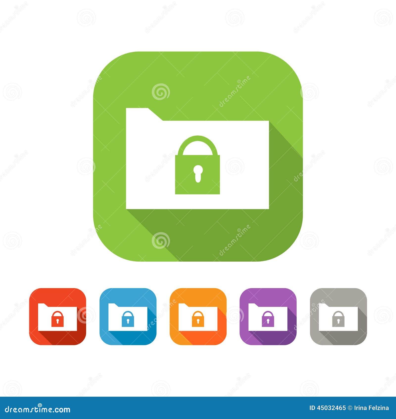平的文件夹彩色组与锁的