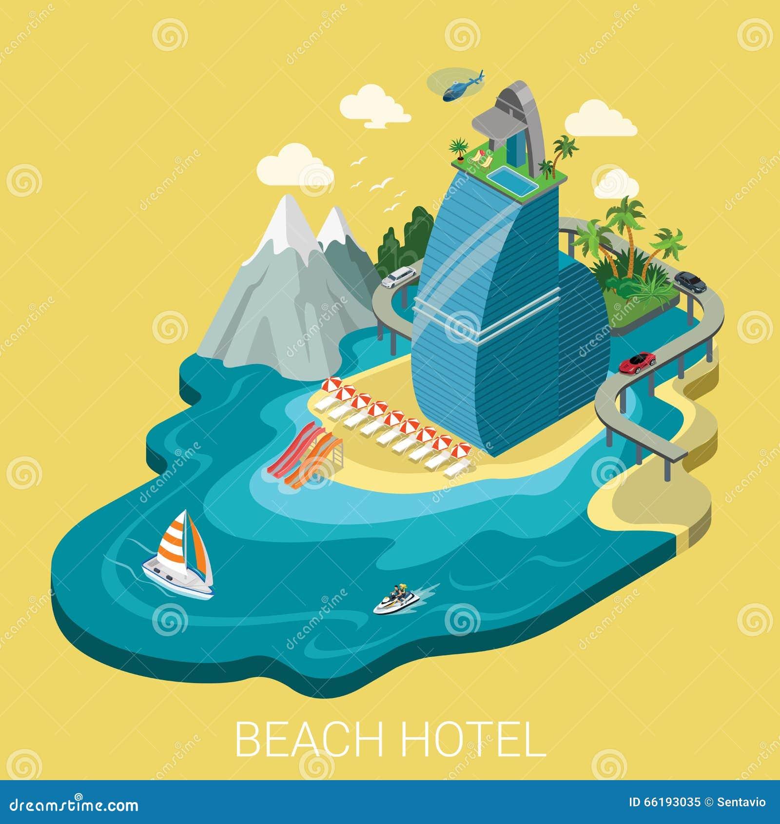 平的等量传染媒介海滩旅馆infographics旅行假期