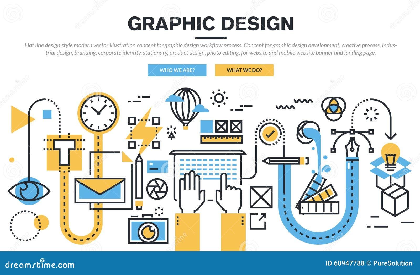 平的线图形设计工作流过程的设计观念