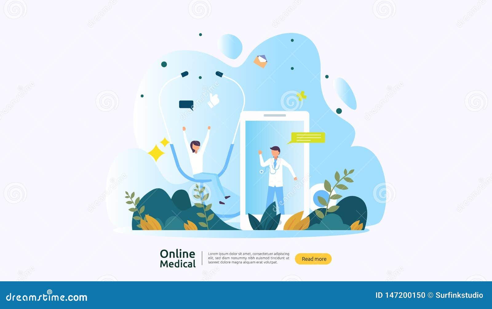 平的网上医嘱或医疗保健服务 电话医生与人字符的支持概念 r