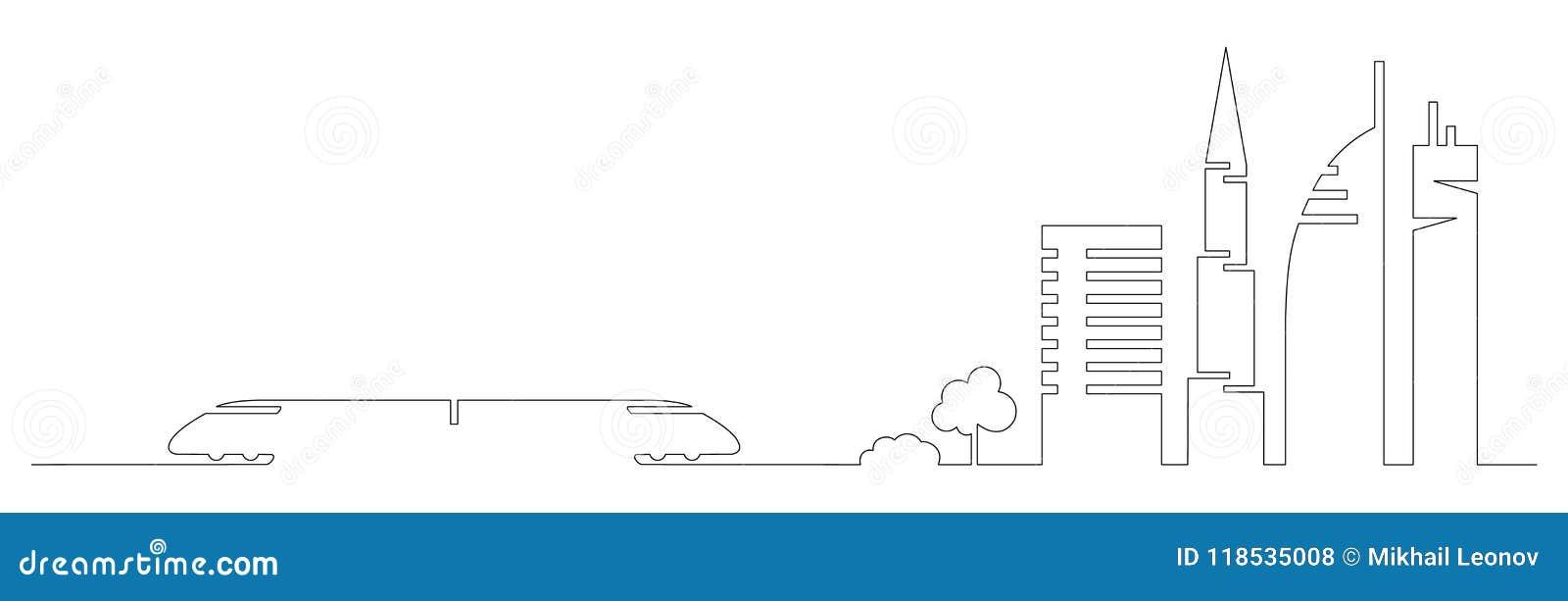 平的艺术性的一条线设计传染媒介城市火车和城市大厦,摩天大楼,树塑造在简单派slyle画的剪影