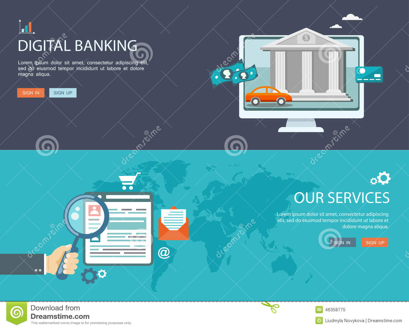 平的设计例证设置了与象和文本 数字式银行业务