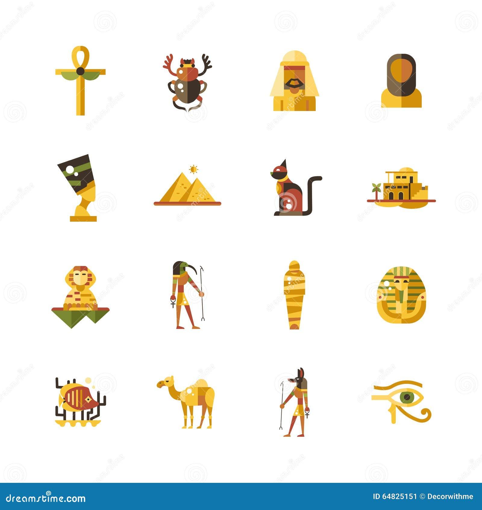 平的设计埃及旅行象,与埃及标志的infographics元素