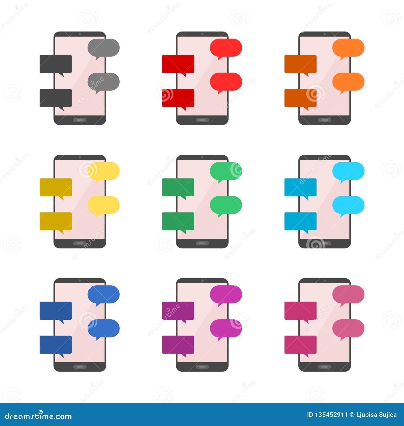 平的设计观念消息和闲谈象或商标,彩色组