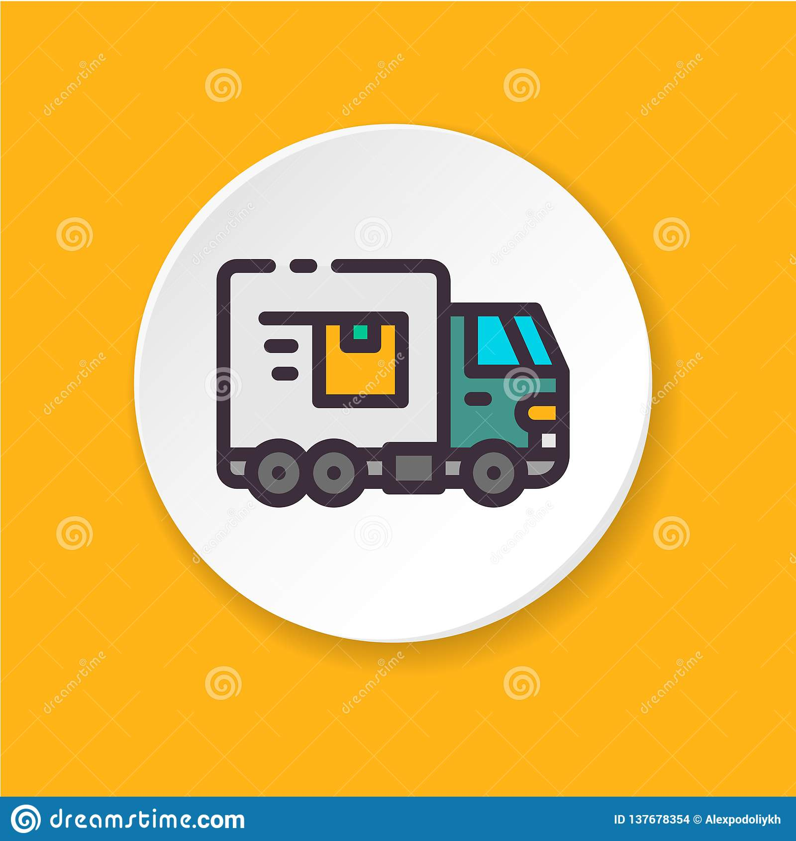 平的象卡车 概念运输,出口,进口
