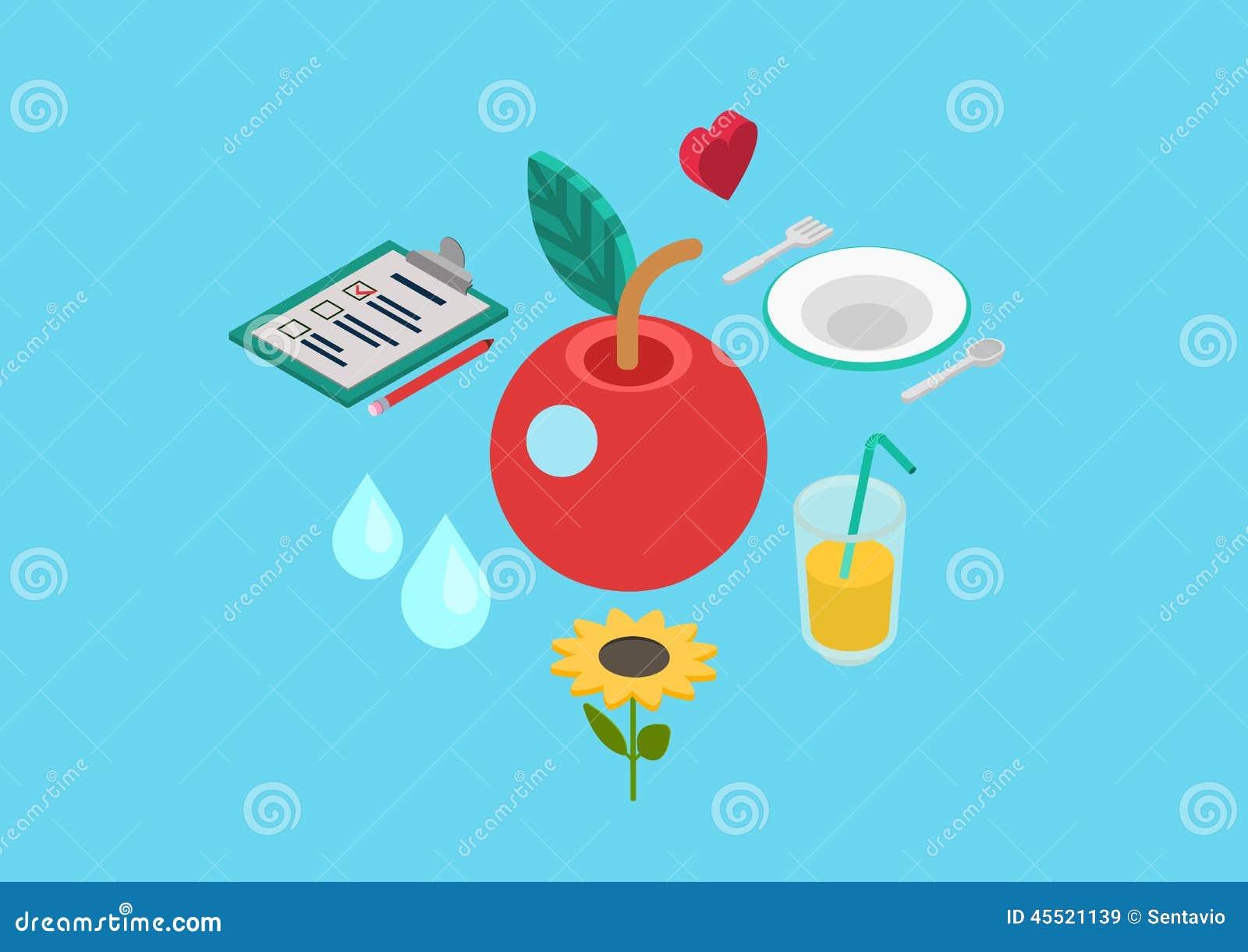 平的3d等量概念传染媒介网健康营养生物食物
