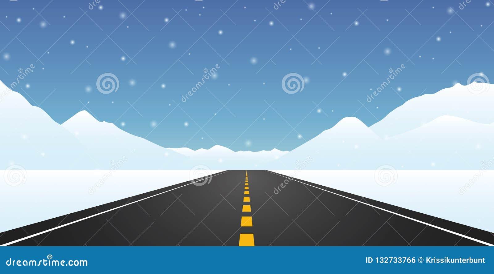平直的柏油路冬季旅行风景