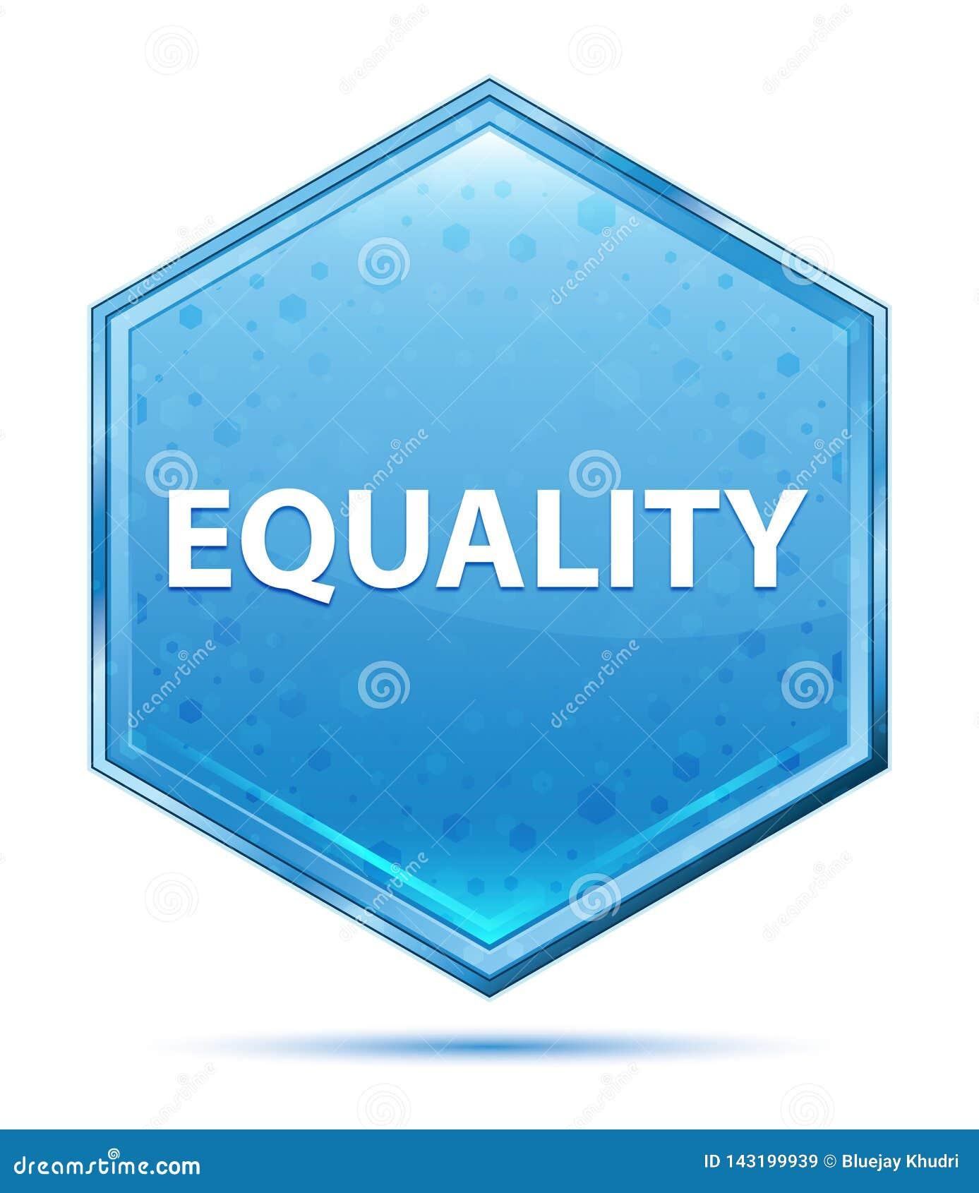 平等水晶蓝色六角形按钮