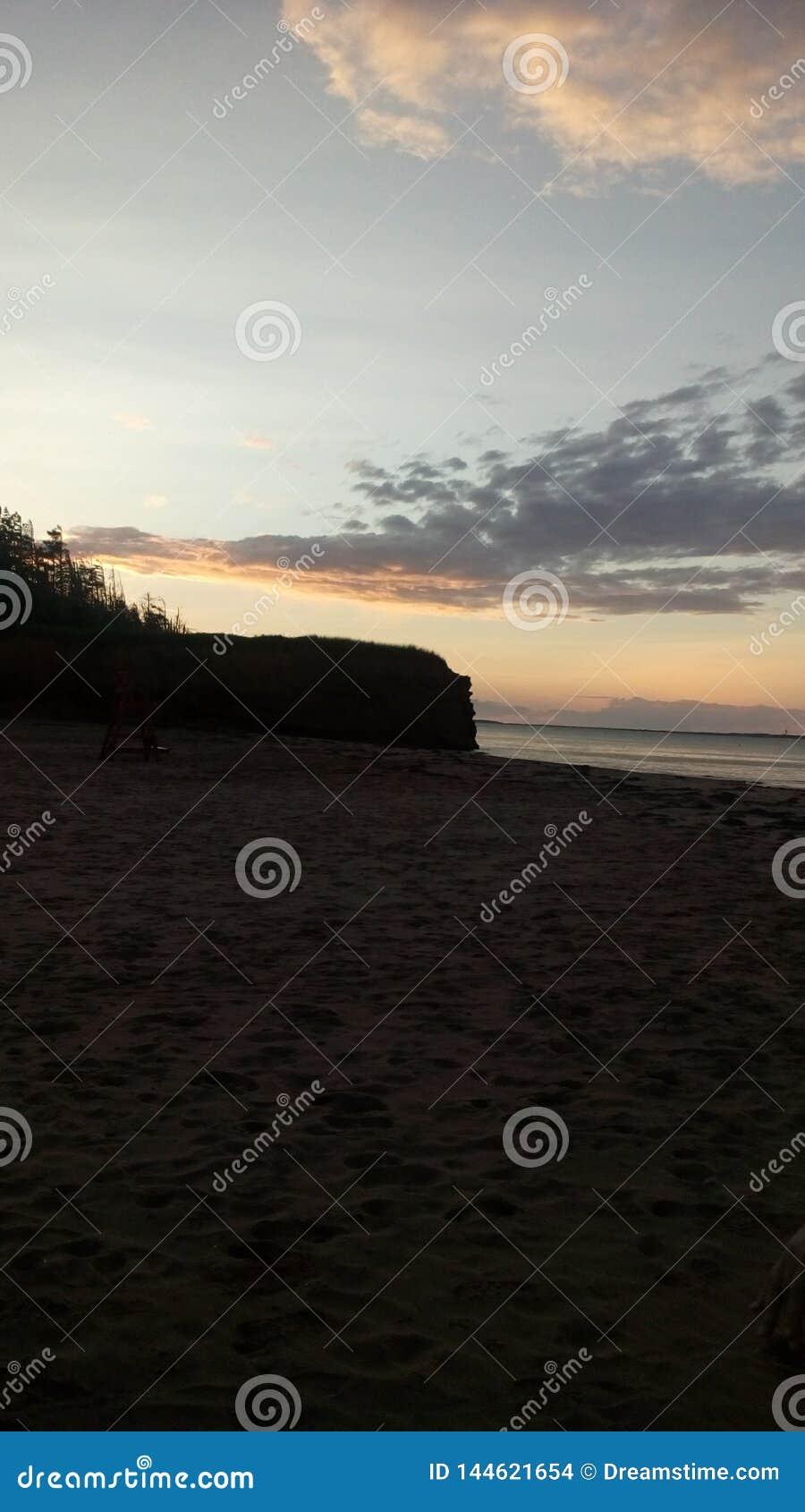 在海滩的日落