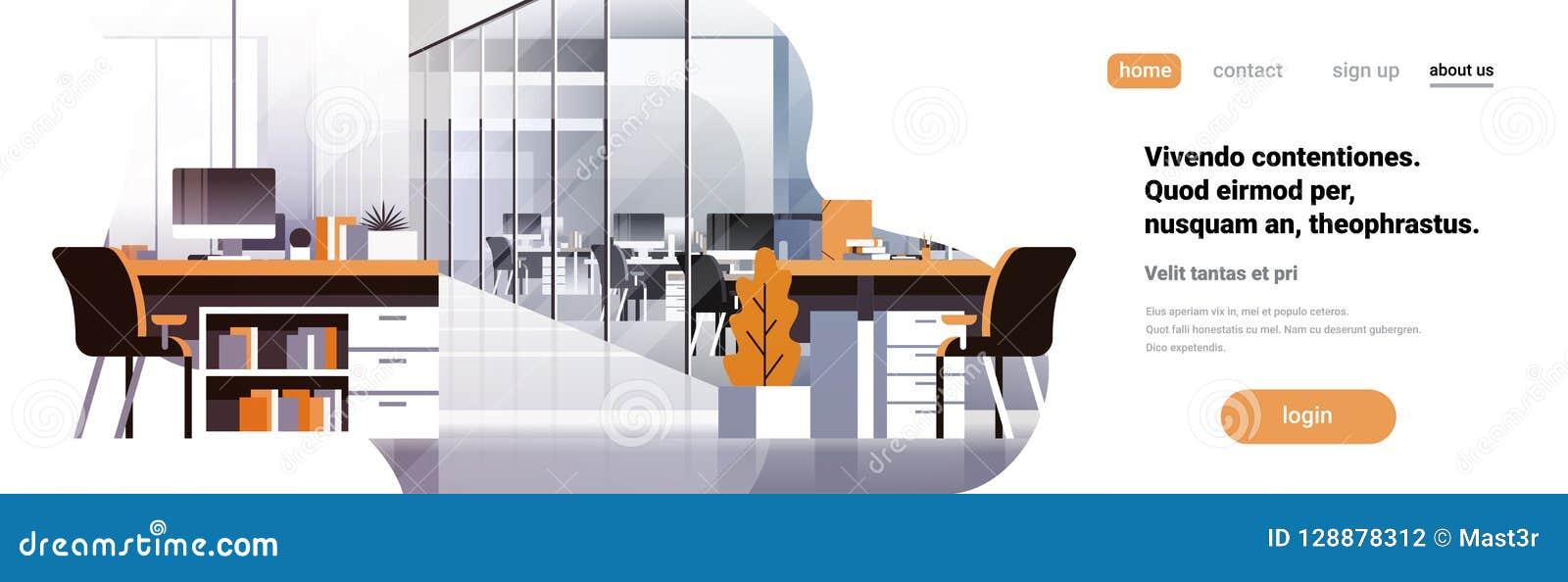 平Coworking办公室内部现代中心创造性的工作场所环境水平的横幅拷贝空间空的工作区