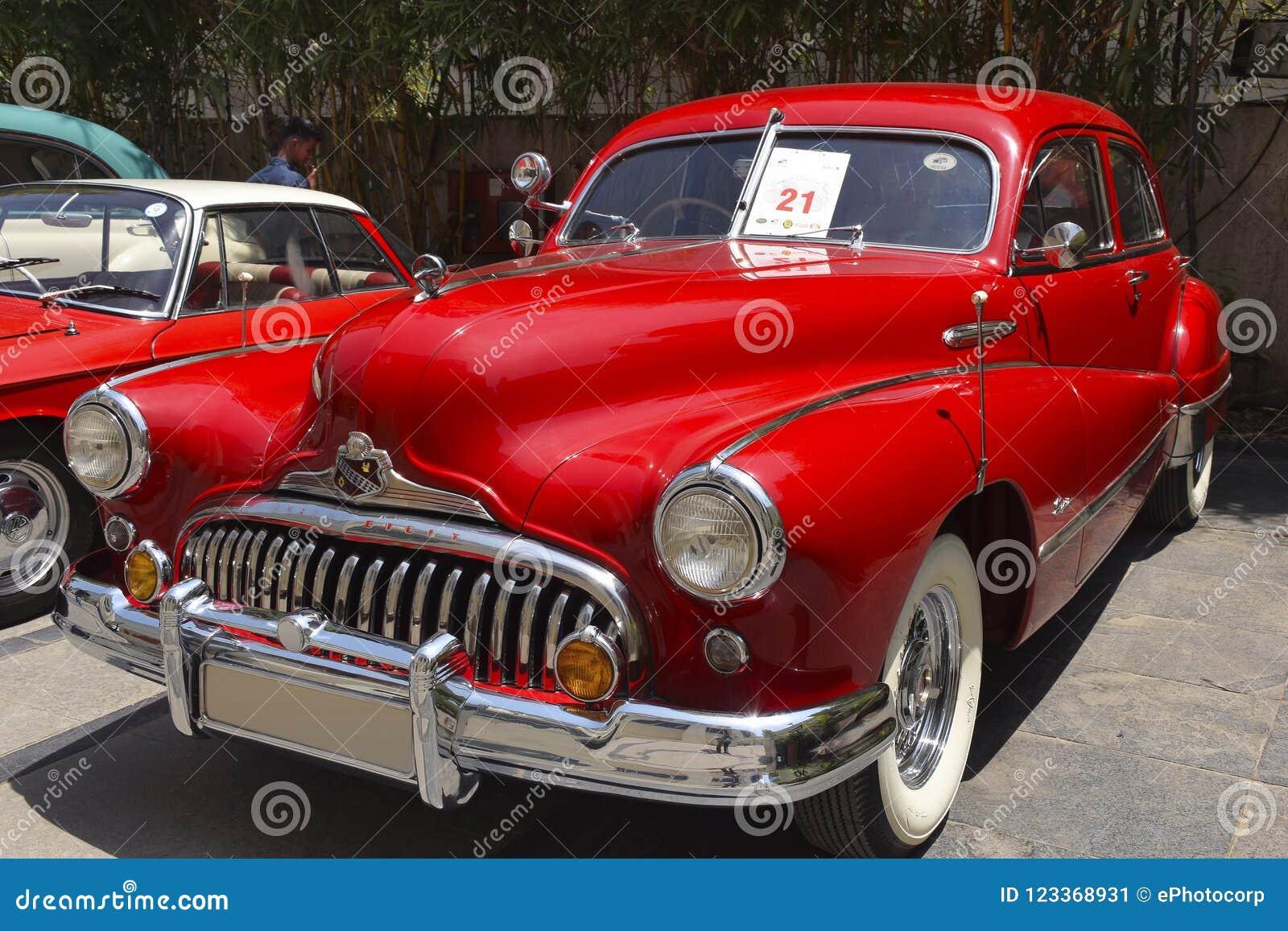 1949年别克超级敞篷车巡航的Lo, VCCCI葡萄酒和经典汽车集会, 2018年4月1日, Kharadi,浦那,马哈拉施特拉