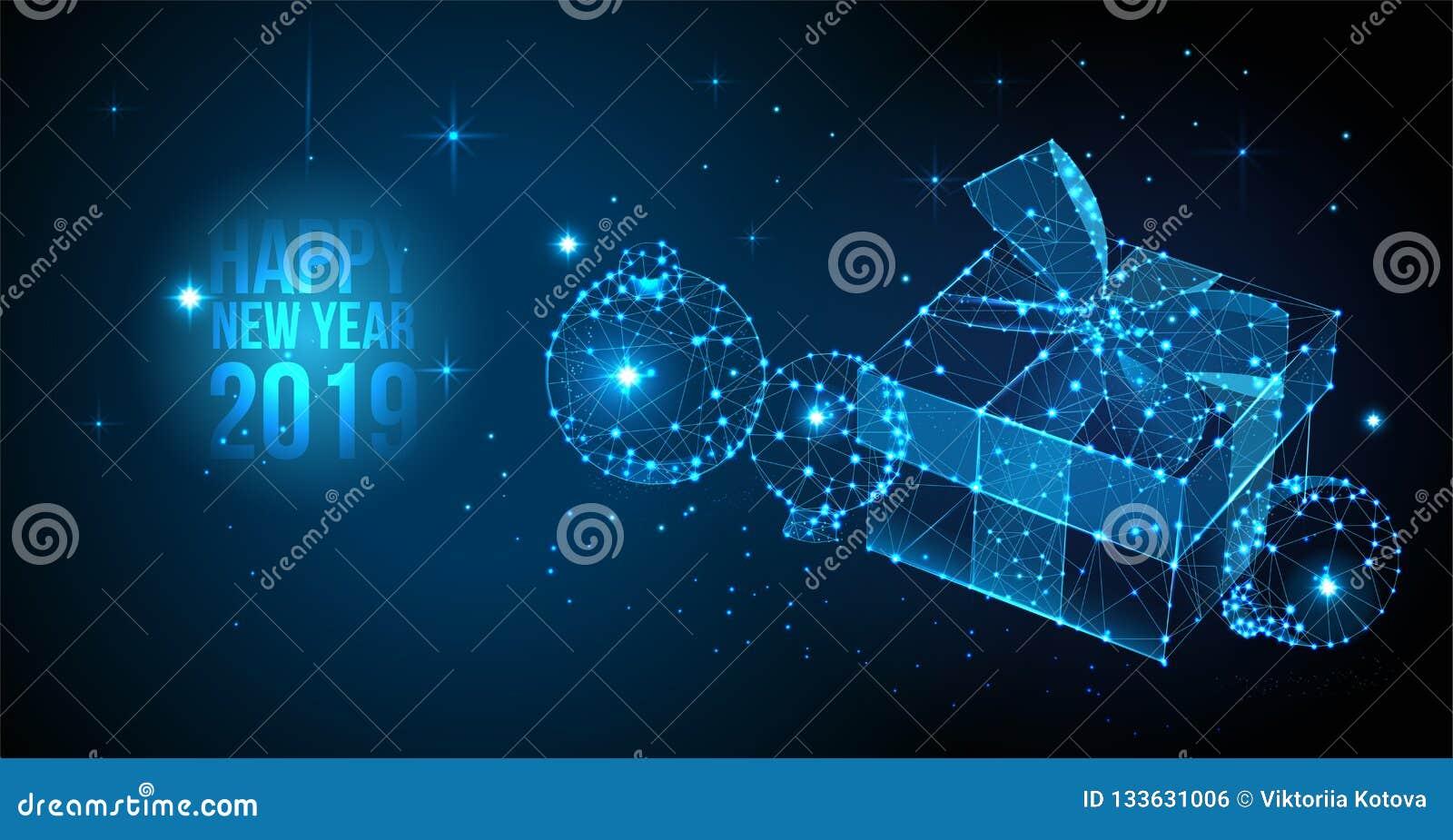 2019年新年快乐背景 传染媒介与礼物盒和圣诞节球的问候横幅 新年2019 3d例证