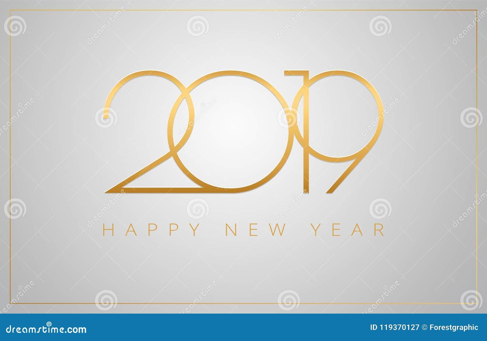 2019年新年快乐贺卡-在银b的金黄数字