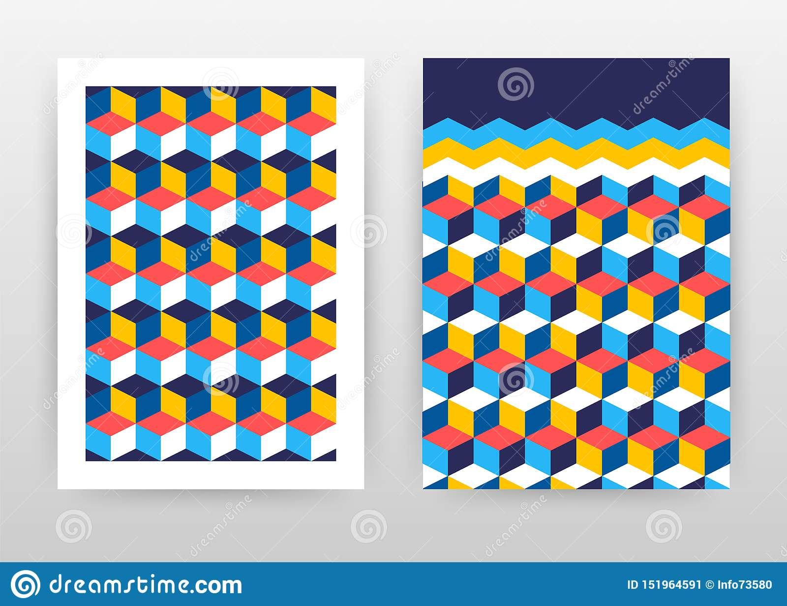 年终报告的,小册子,飞行物,海报红色黄色立方体企业背景设计 五颜六色的3D等量立方体摘要