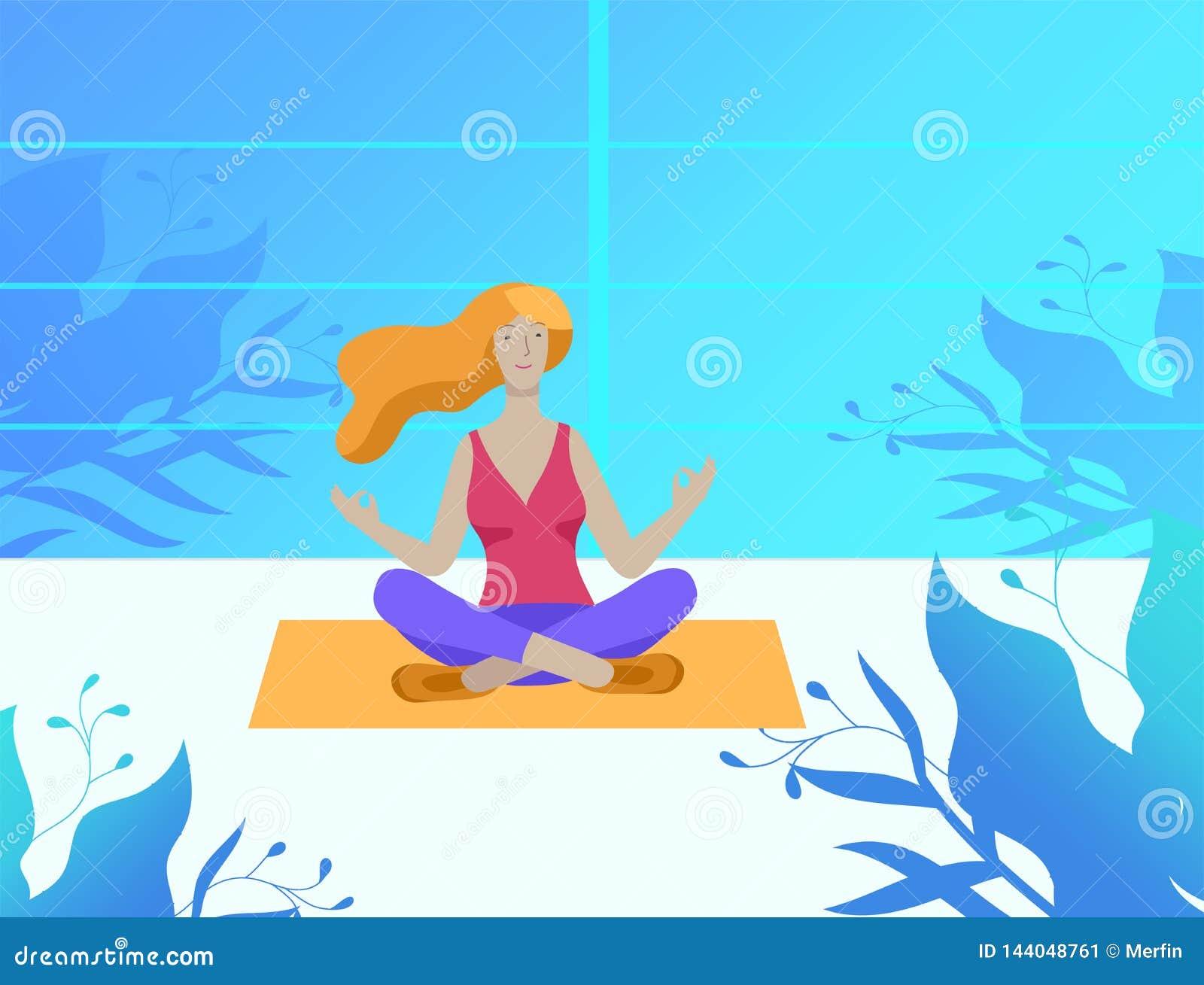 年轻人和妇女思考,坐在瑜伽姿势,在家执行有氧运动锻炼 物理和精神