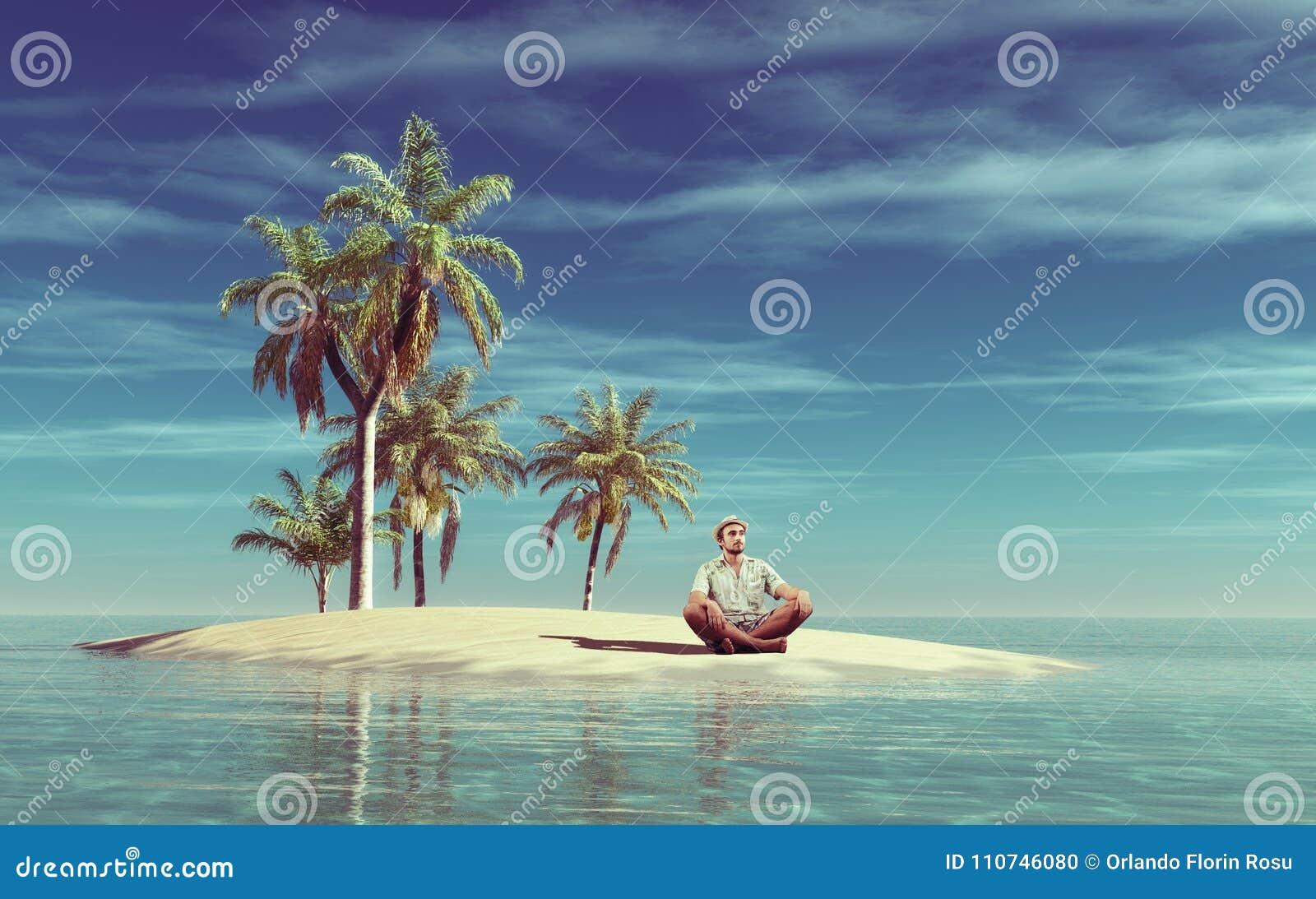 年轻人在一个小热带海岛上放松