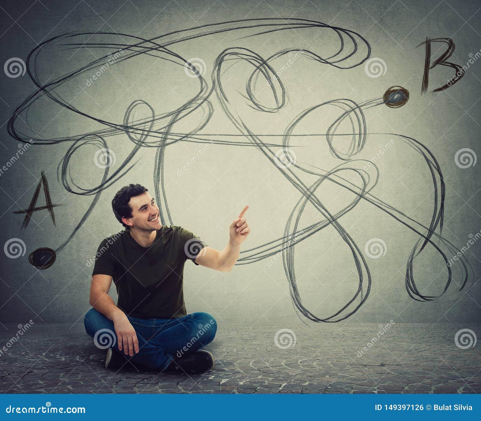 年轻人坐指向食指的地板发现从点A的正确方法指向B 解决问题,发现解答