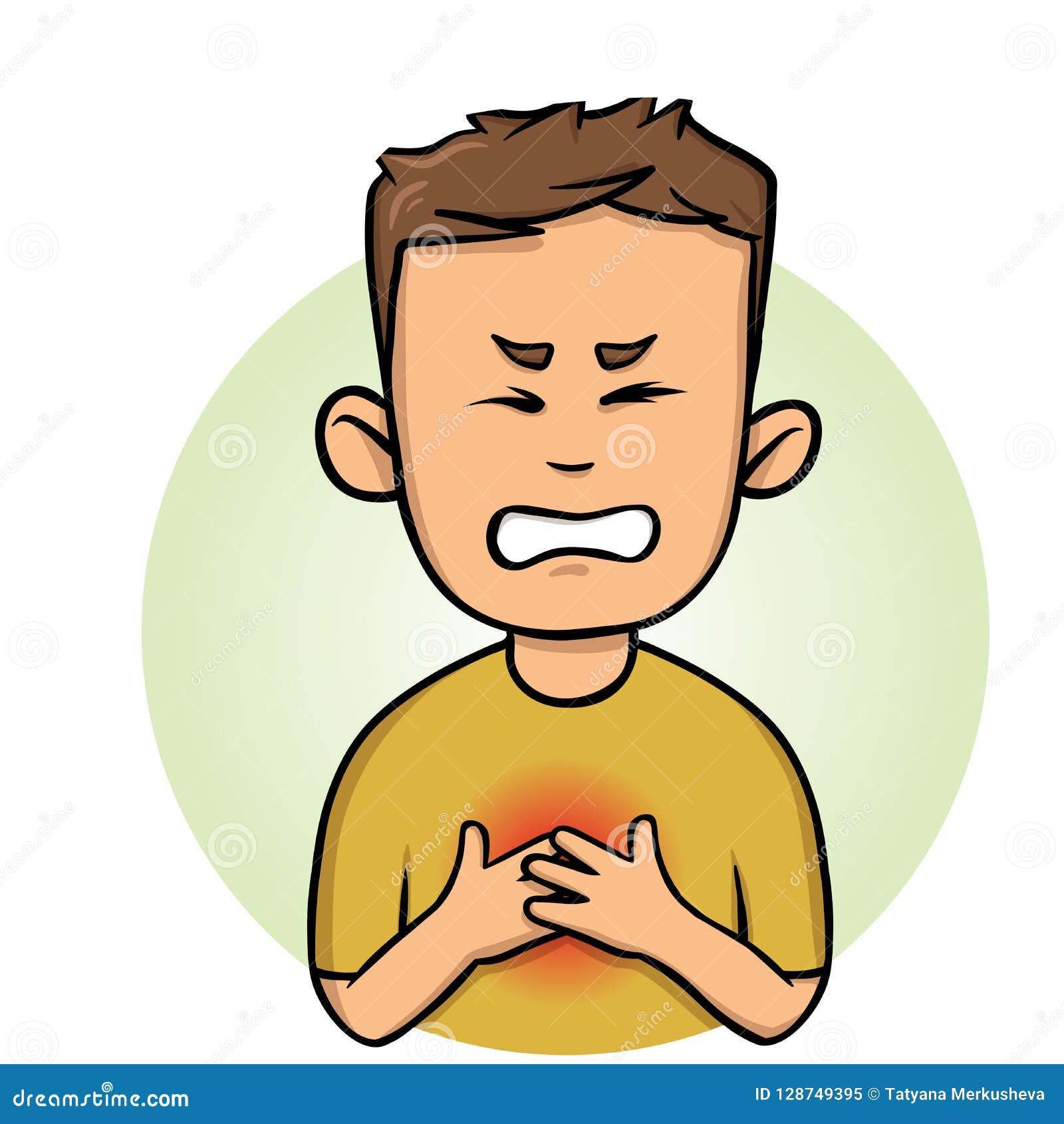 年轻人感觉胸口痛 咽喉痛和心脏病发作 平的传染媒介例证 背景查出的白色