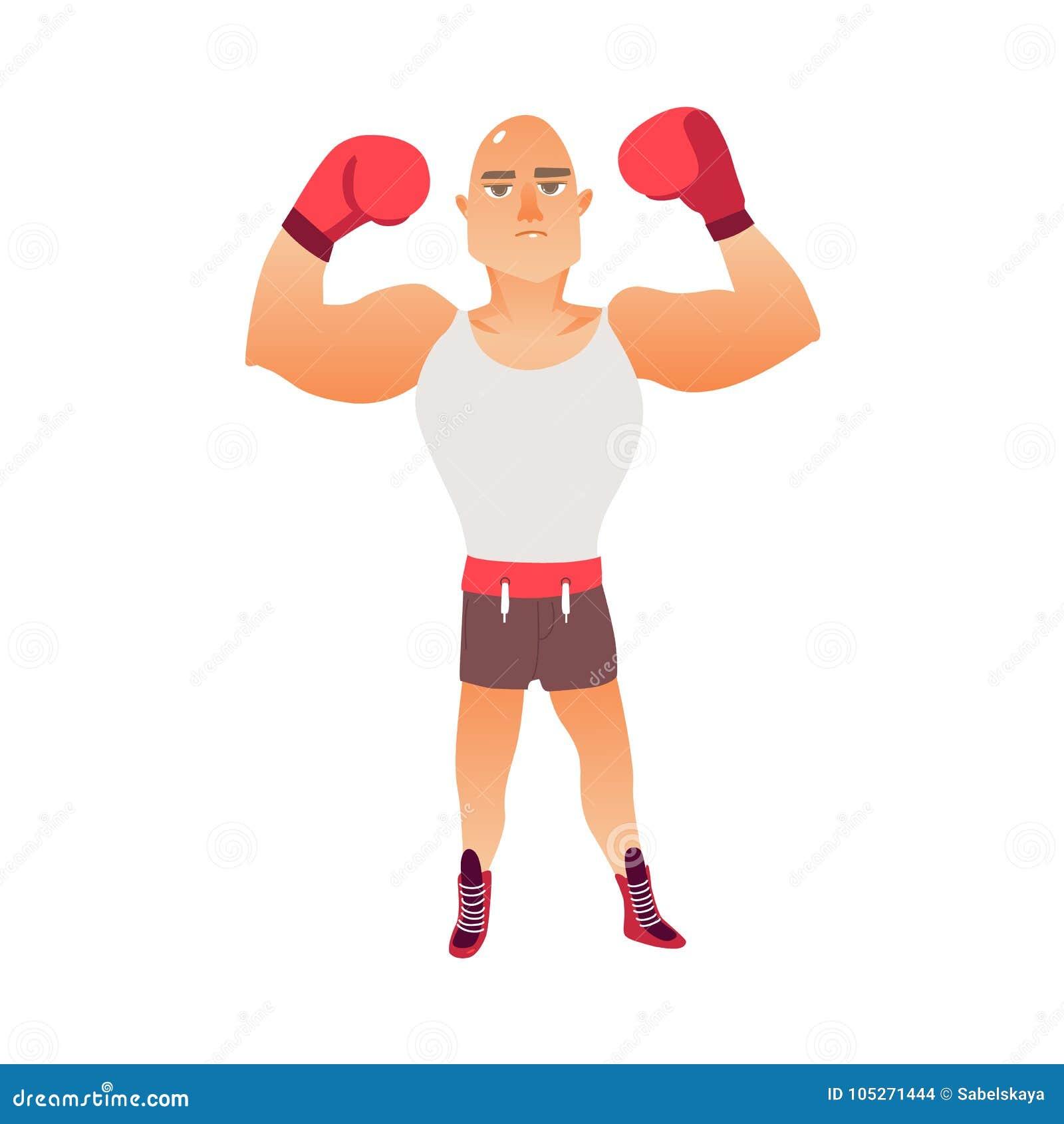 年轻人,举胳膊的秃头白种人男性拳击手