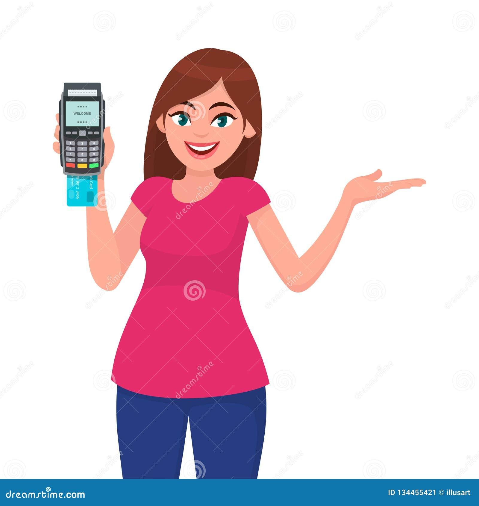 年轻女人/女孩陈列猛击机器和姿态手的pos终端或信用/借记卡复制空间边