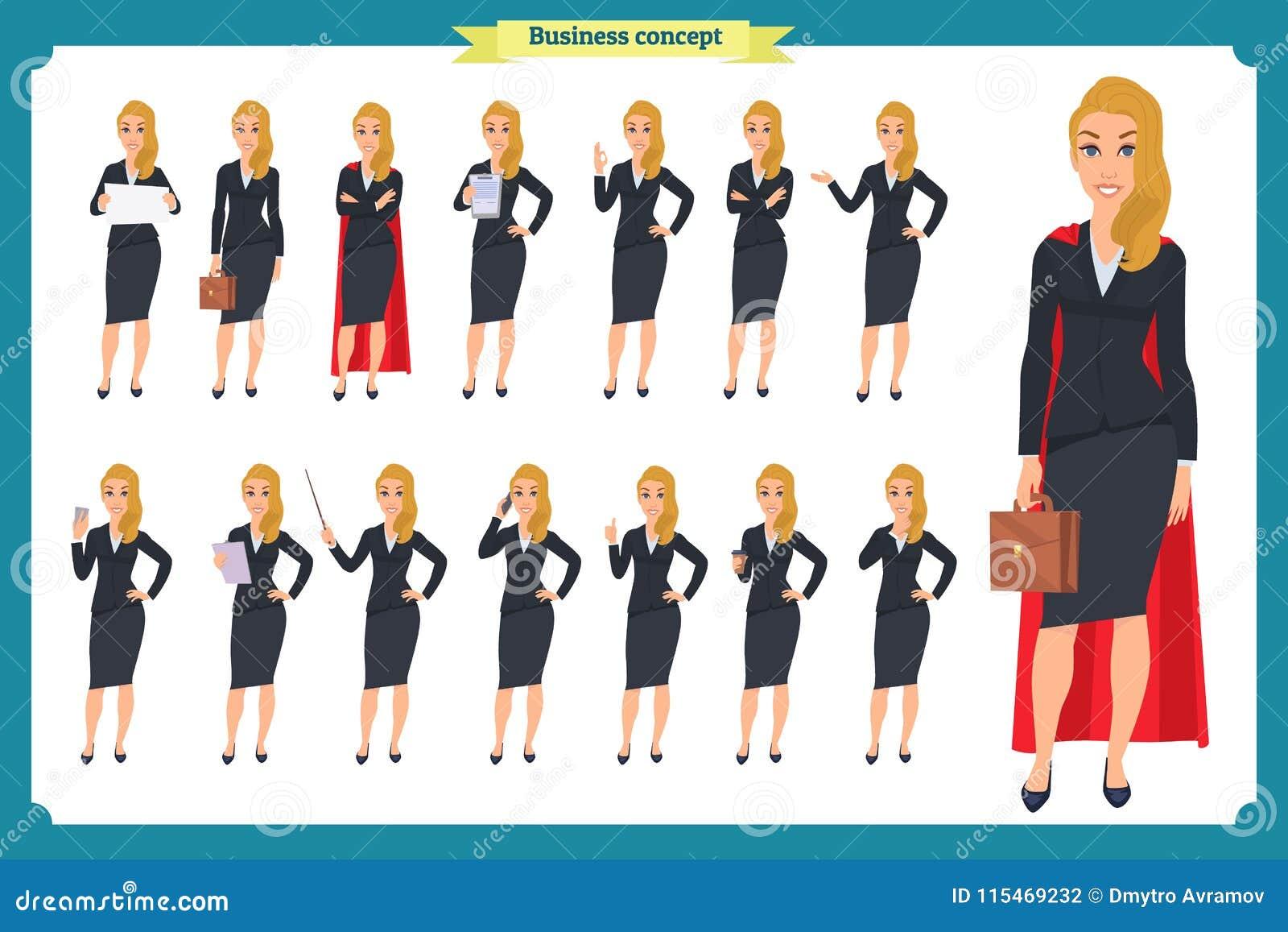 年轻女实业家提出用不同的姿势的套 人字符 突出 查出在白色 平的样式 事务