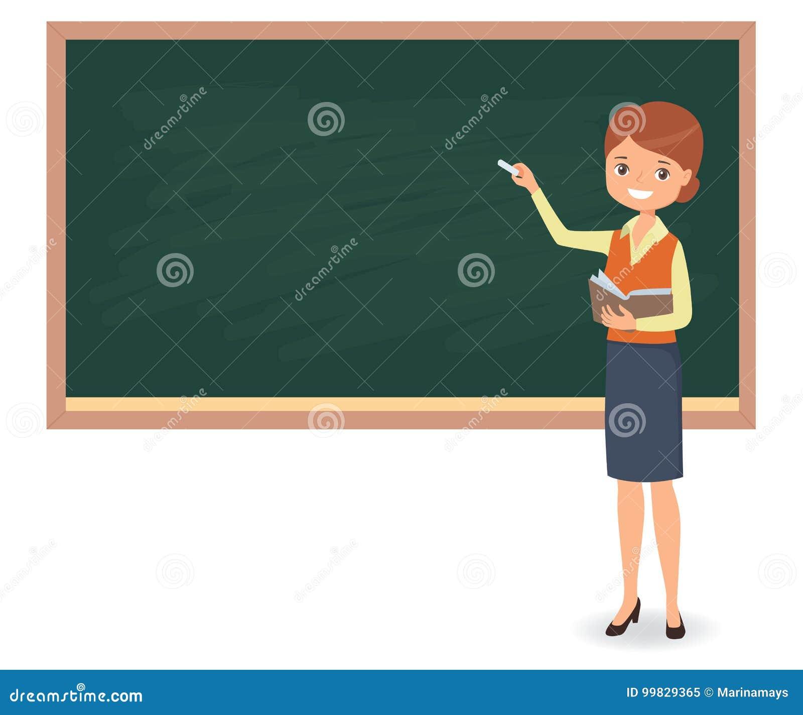 年轻女老师在学校黑板写着白垩
