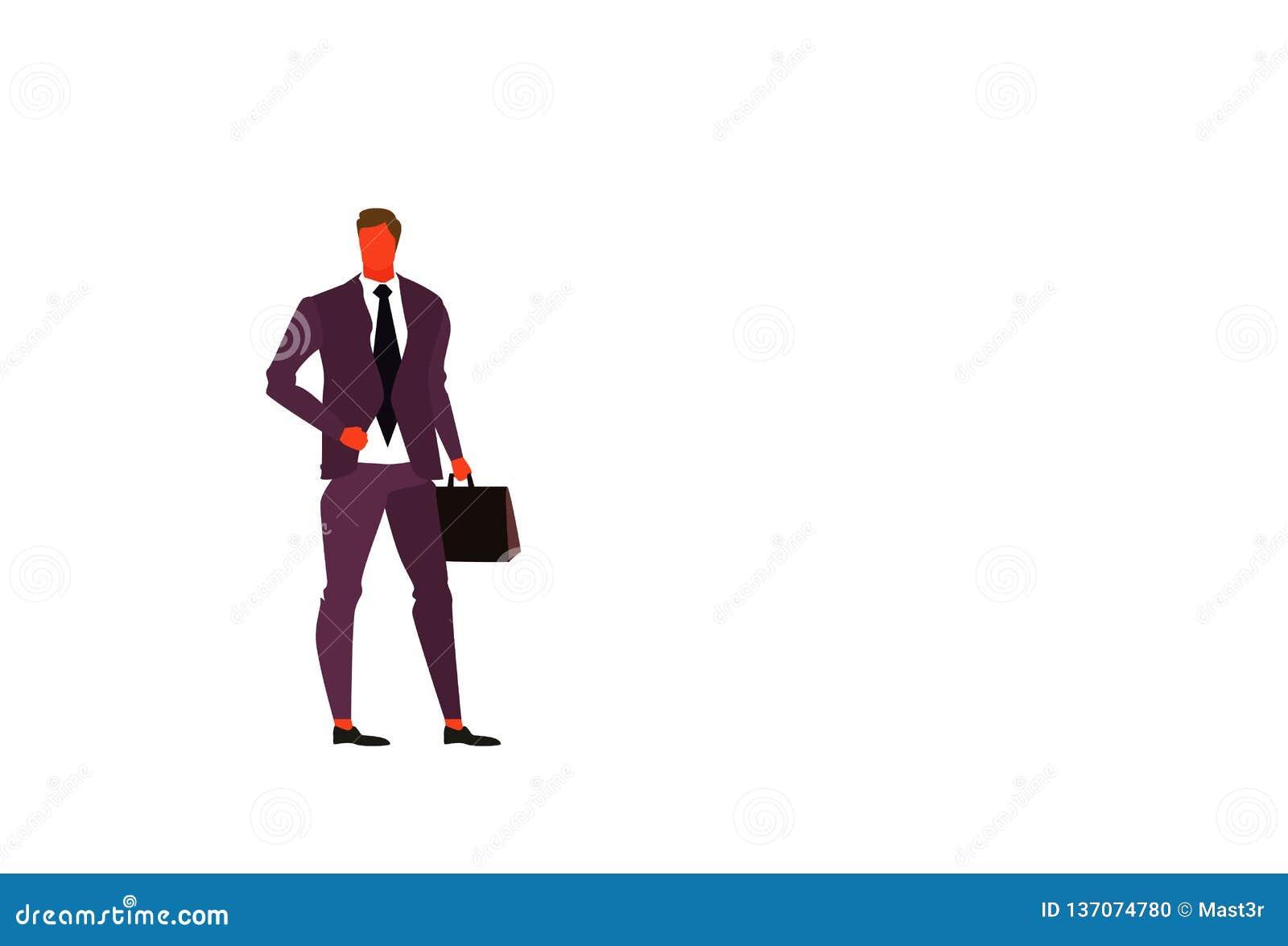 年轻平展商人藏品公文包男性办公室工作者商人上司身分姿势全长字符
