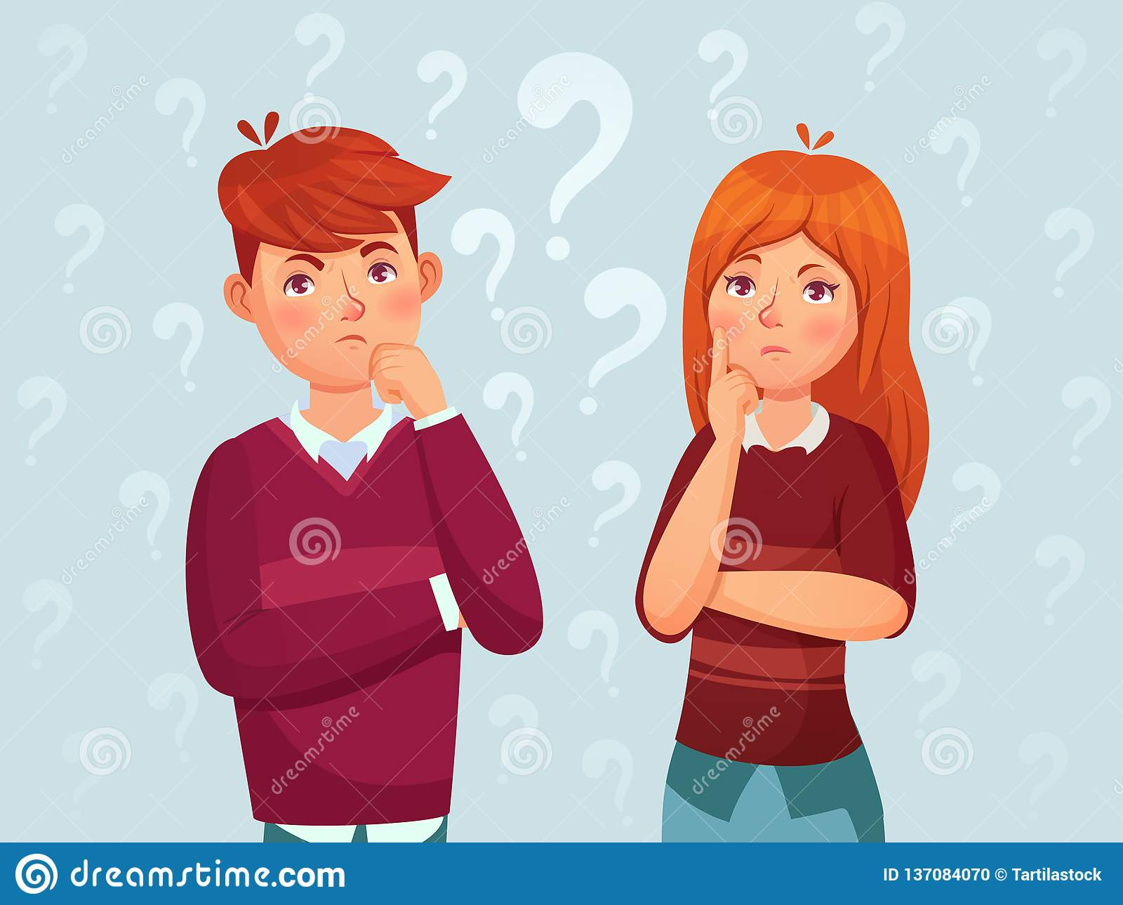 年轻想法的夫妇 被迷惑的少年,让体贴的学生担心,并且少年认为动画片传染媒介例证