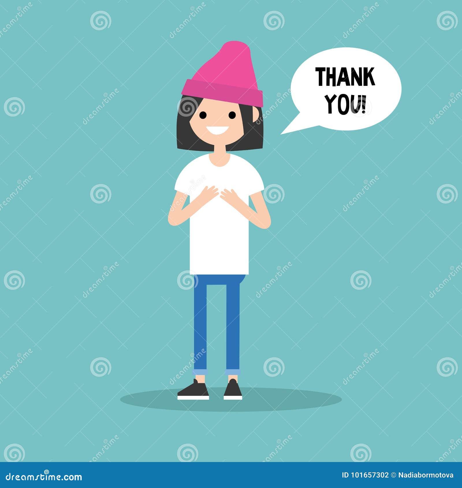 年轻感恩的深色的女孩说感谢您