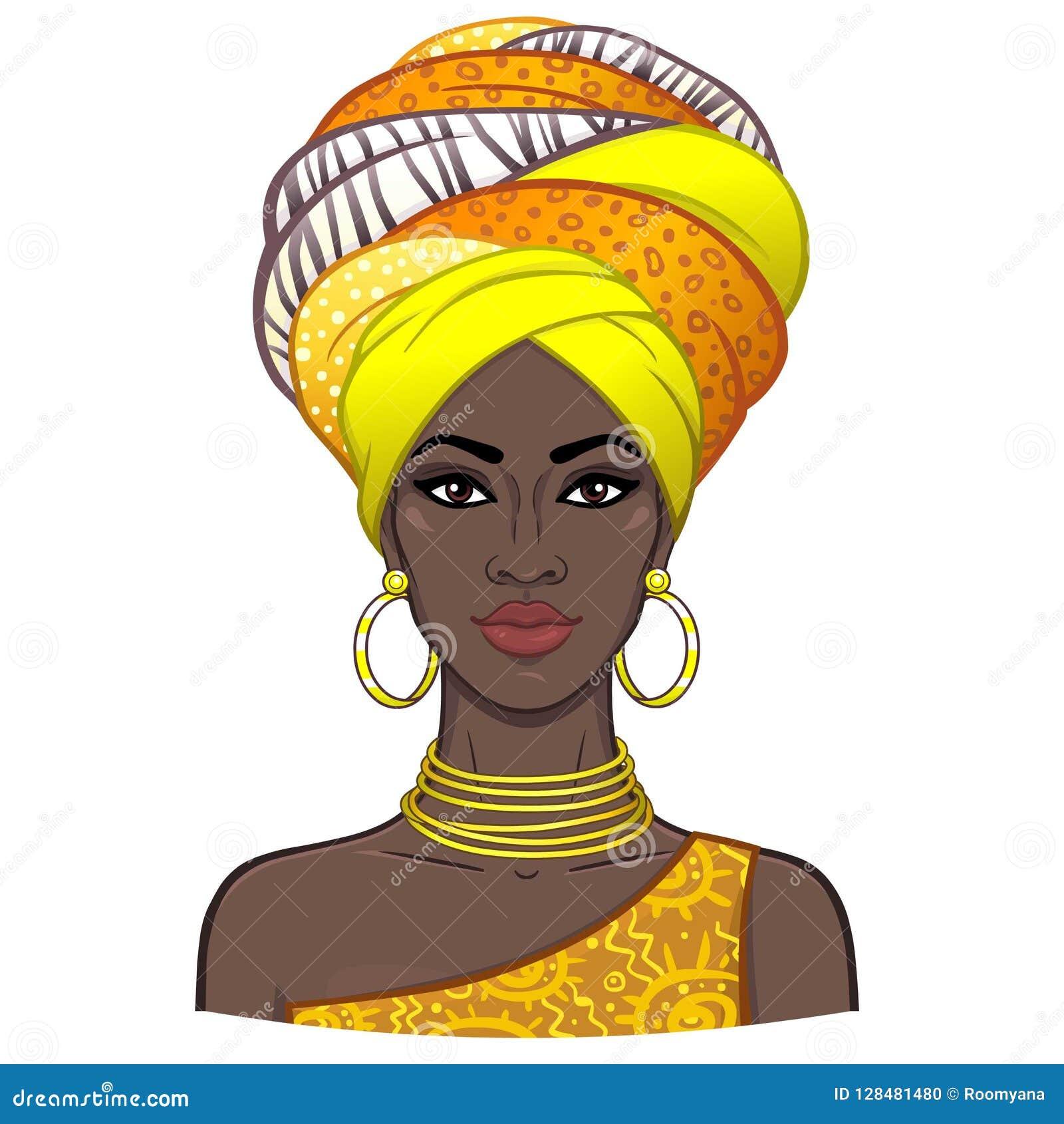 年轻美丽的非洲妇女的动画画象头巾的