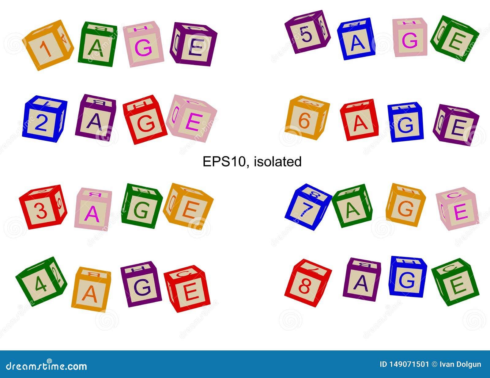年龄线,年龄的数字 书或海报的例证