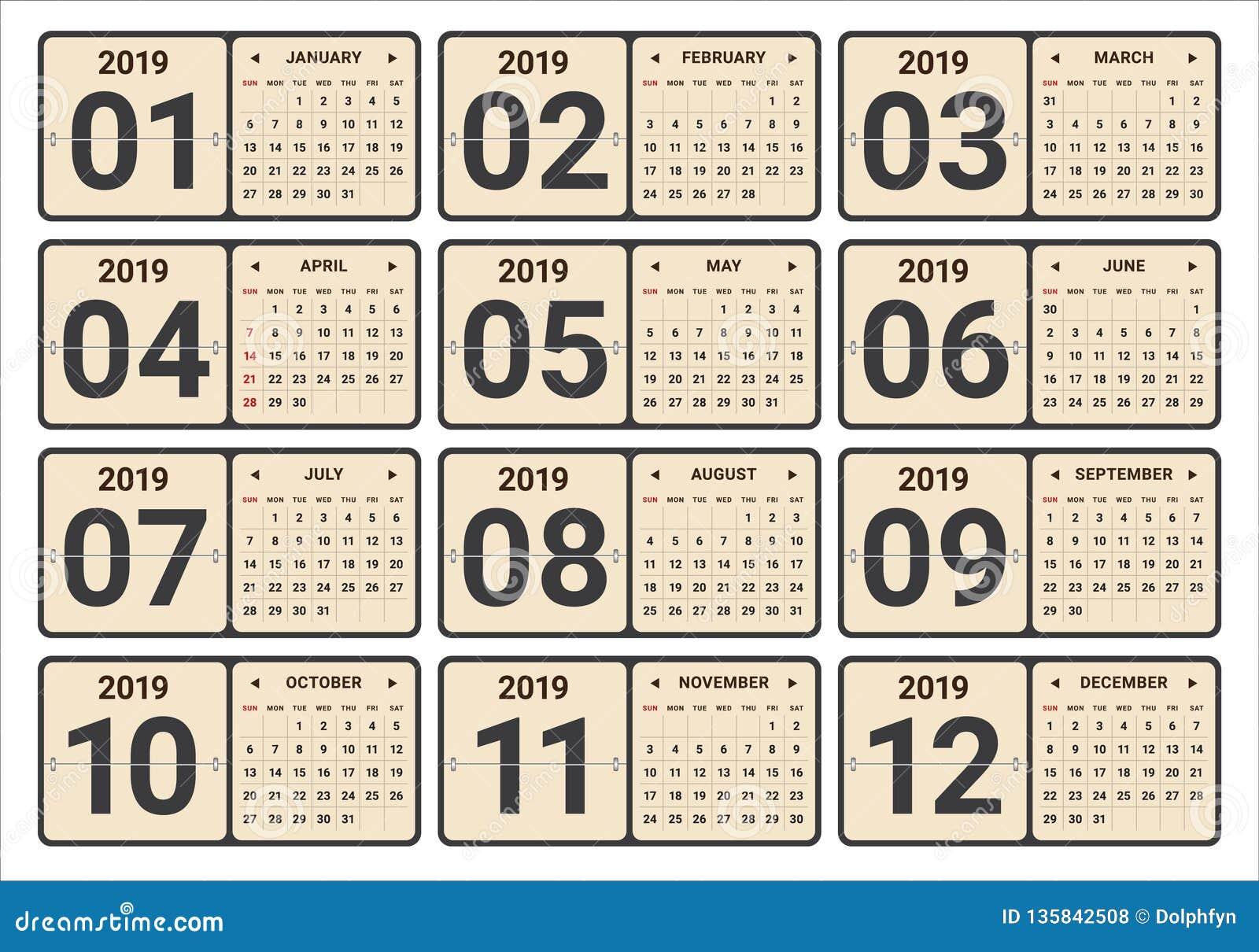 年2019月度日历传染媒介例证