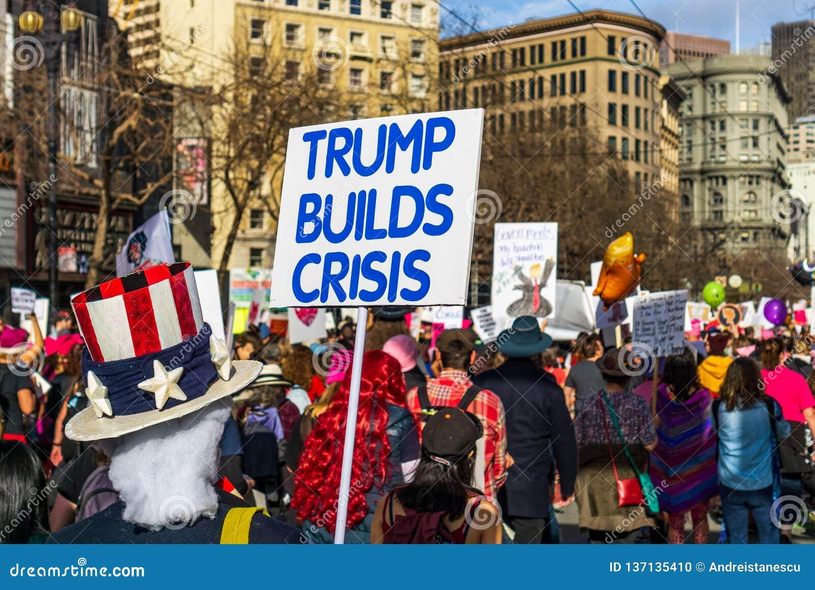2019年1月19日旧金山/加州/美国-妇女的3月'王牌建立危机的标志