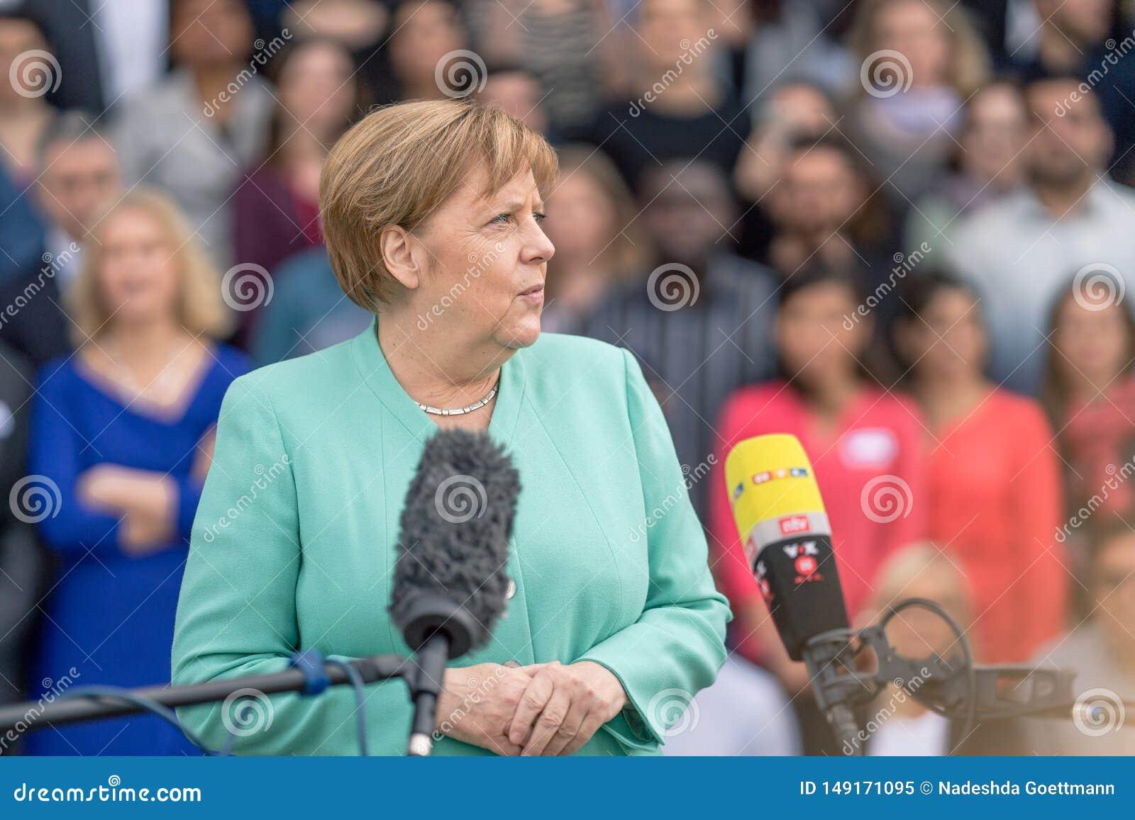 2019年5月23日-罗斯托克:德国总理安格拉・默克尔在新闻招待会