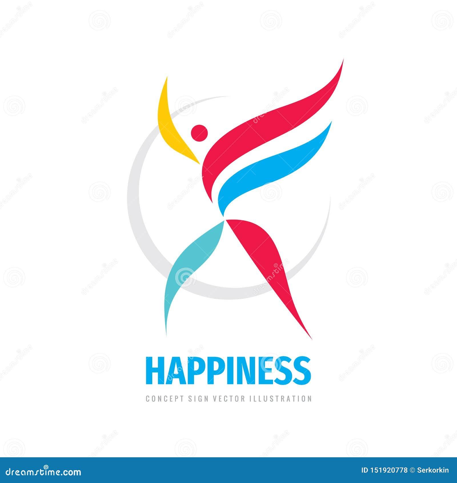 幸福企业商标设计 人的发展创造性的象标志 正面标志