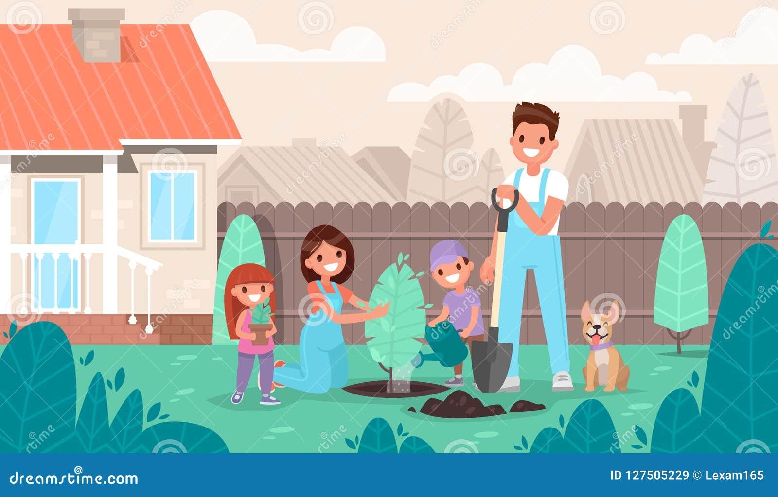 幸福家庭在庭院里种植一棵树 父项和子项