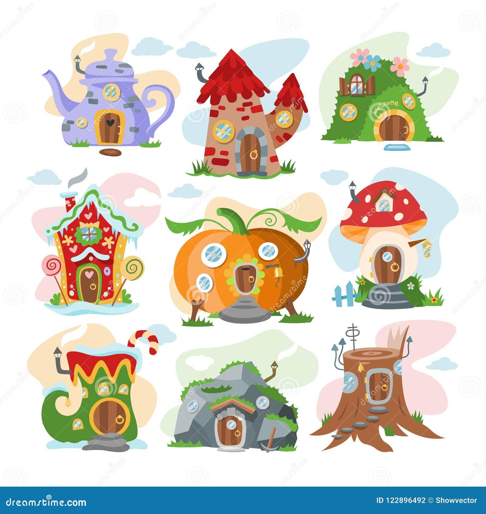 幻想房子传染媒介动画片神仙的树上小屋和魔术住房村庄例证套孩子童话南瓜或